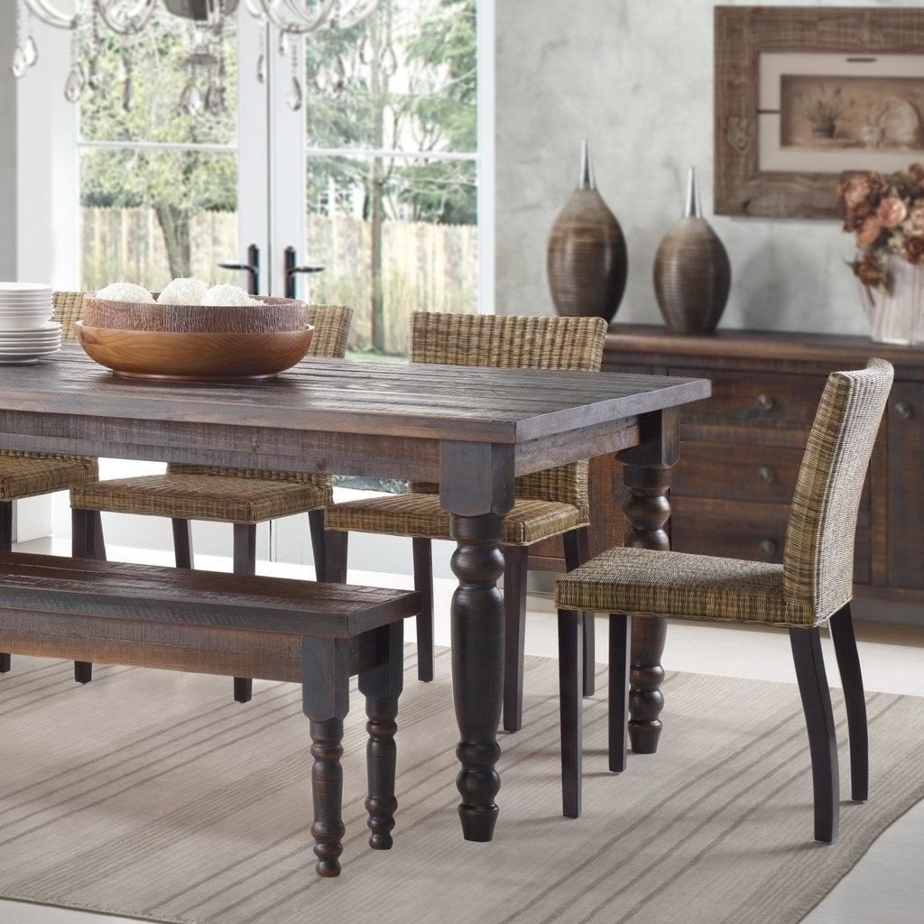 Falmer 3 Piece Solid Wood Dining Sets Throughout Widely Used Buy Farmhouse Kitchen & Dining Room Tables Online At Overstock (View 5 of 20)