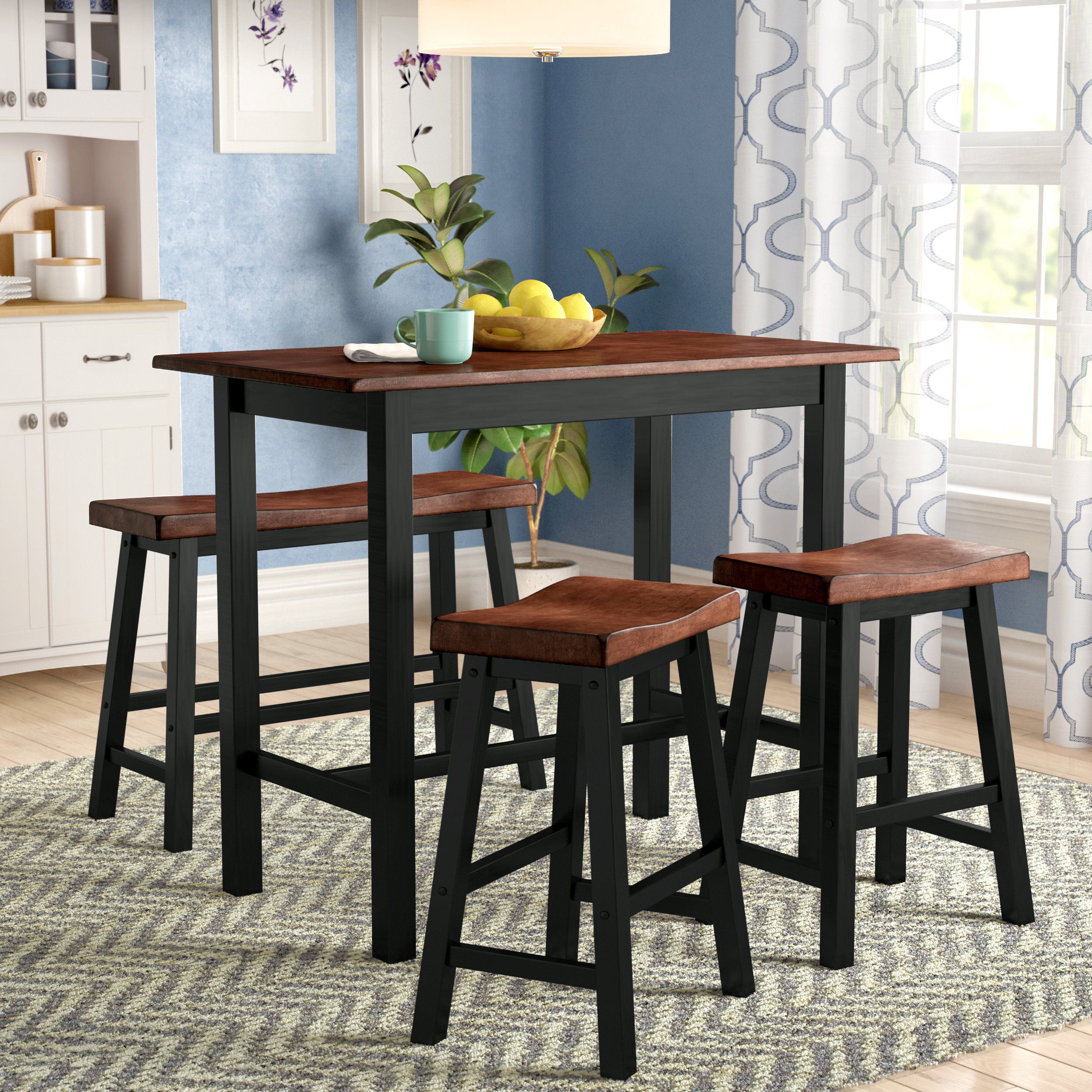 Famous Berrios 3 Piece Counter Height Dining Sets Regarding Red Barrel Studio Winsted 4 Piece Counter Height Dining Set (#7 of 20)