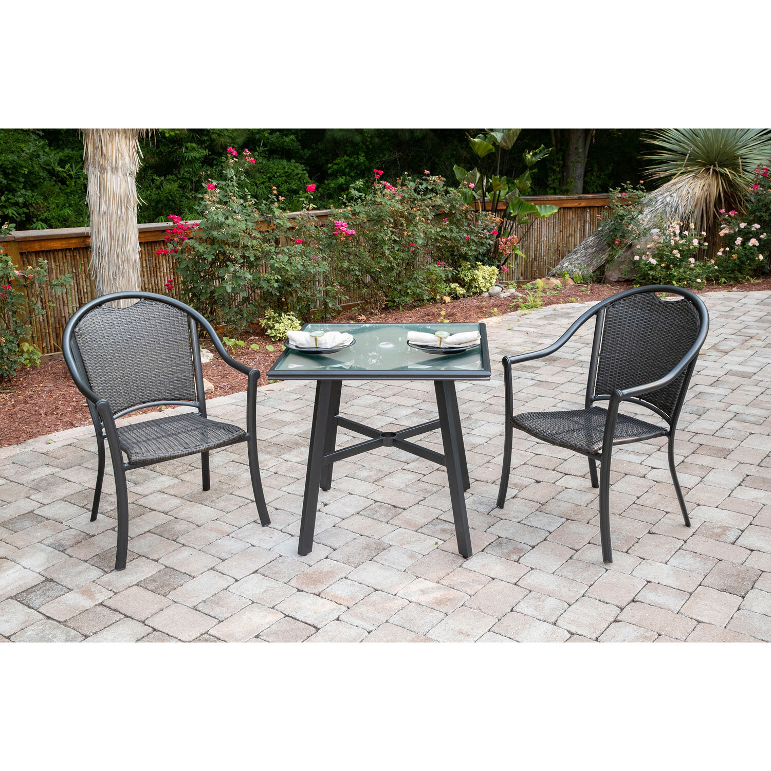 Famous Charlton Home Bearden 3 Piece Commercial Grade Patio Set With 2 Intended For Bearden 3 Piece Dining Sets (#8 of 20)