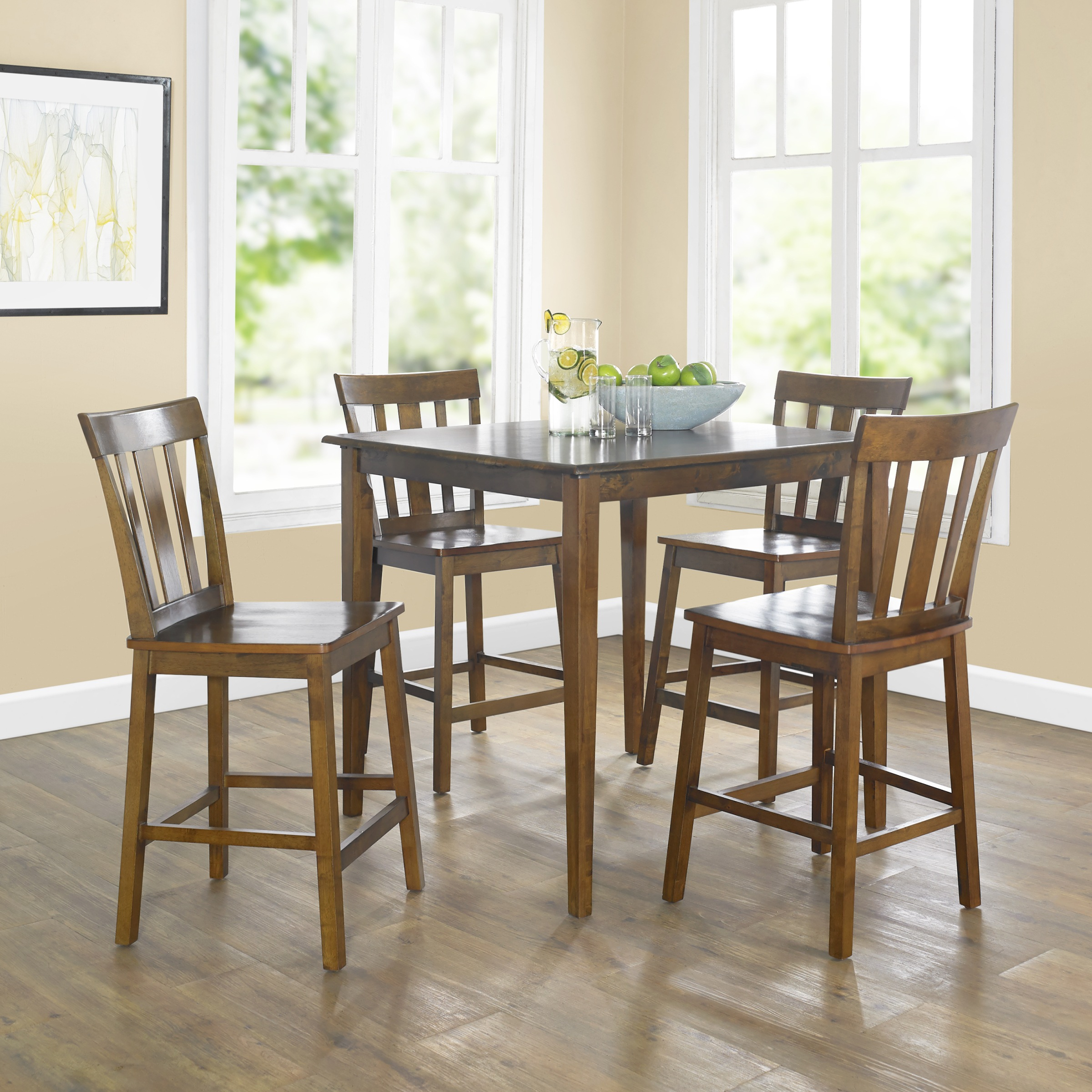 Famous Goodman 5 Piece Solid Wood Dining Sets (Set Of 5) With Regard To Mainstays 5 Piece Mission Counter Height Dining Set – Walmart (#4 of 20)