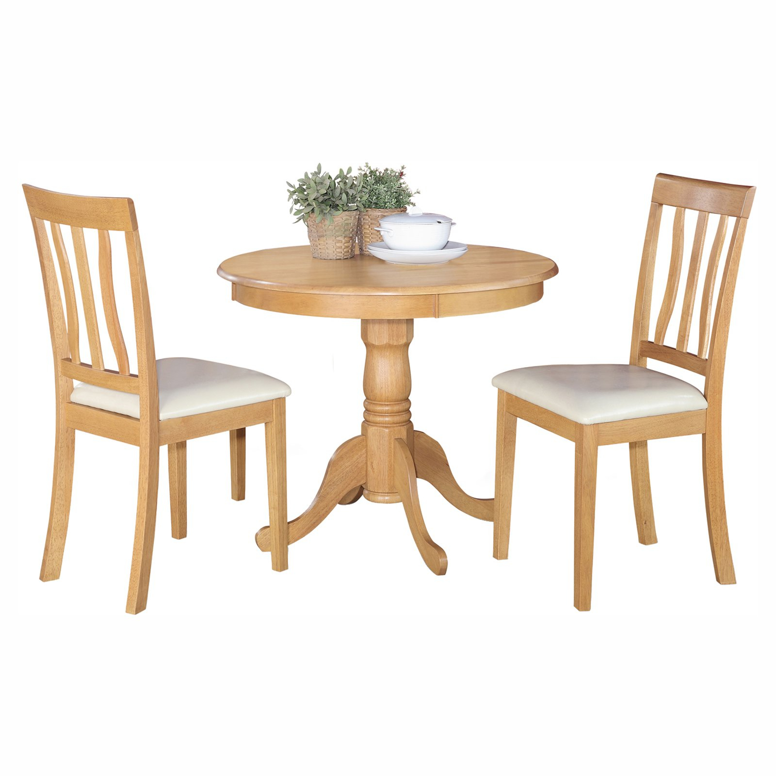 Famous West Hill Family Table 3 Piece Dining Sets Inside East West Furniture Antique 3 Piece Pedestal Round Dining Table Set (#6 of 20)