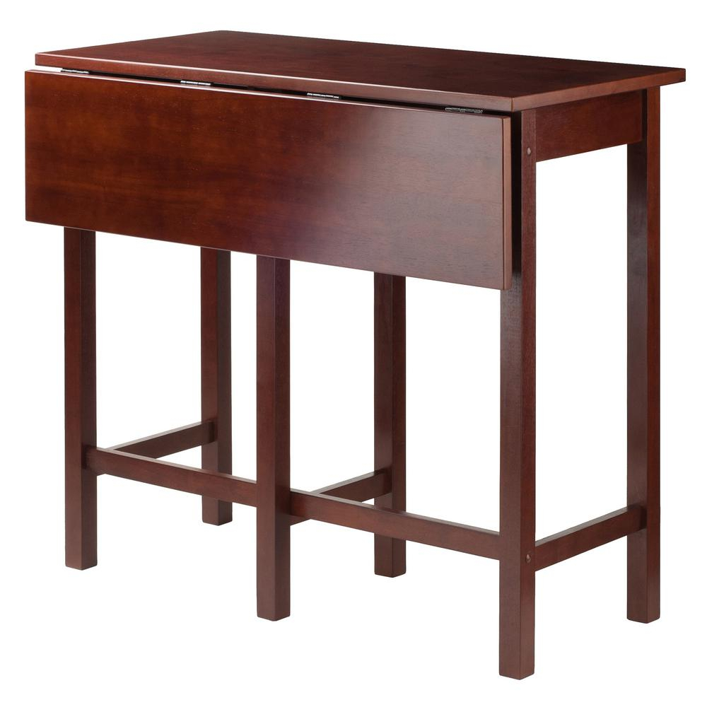 Famous Winsome 3 Piece Counter Height Dining Sets Inside Winsome Wood Lynnwood Drop Leaf High Table In Walnut 94149 – The (View 17 of 20)