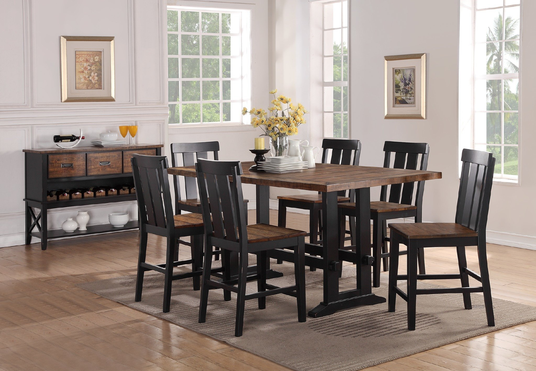 Fashionable Gracie Oaks Goodman 7 Piece Counter Height Dining Set & Reviews Intended For Goodman 5 Piece Solid Wood Dining Sets (Set Of 5) (#5 of 20)