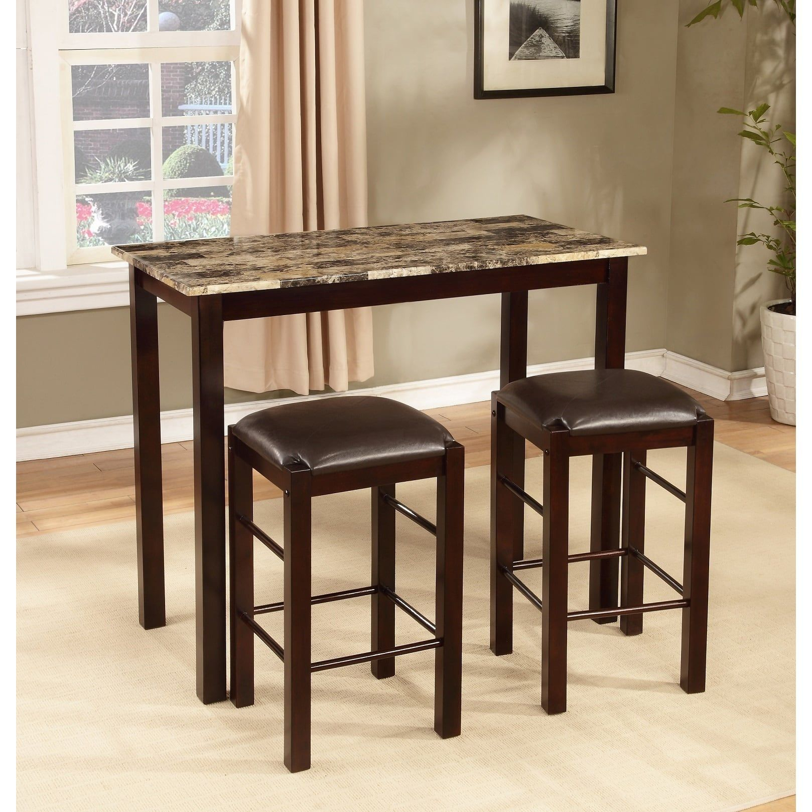 Fashionable Tenney 3 Piece Counter Height Dining Sets Regarding Copper Grove Luther 3 Piece Espresso Counter Height Table And Chair (#8 of 20)