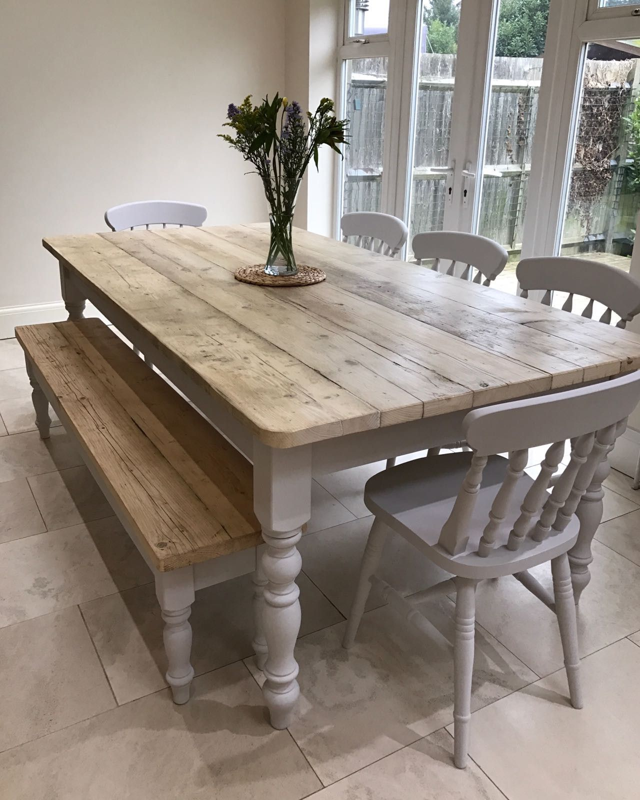 Fashionable The Florence Clear' Table Made From Reclaimed Wood (Distressed Throughout Linette 5 Piece Dining Table Sets (#4 of 20)
