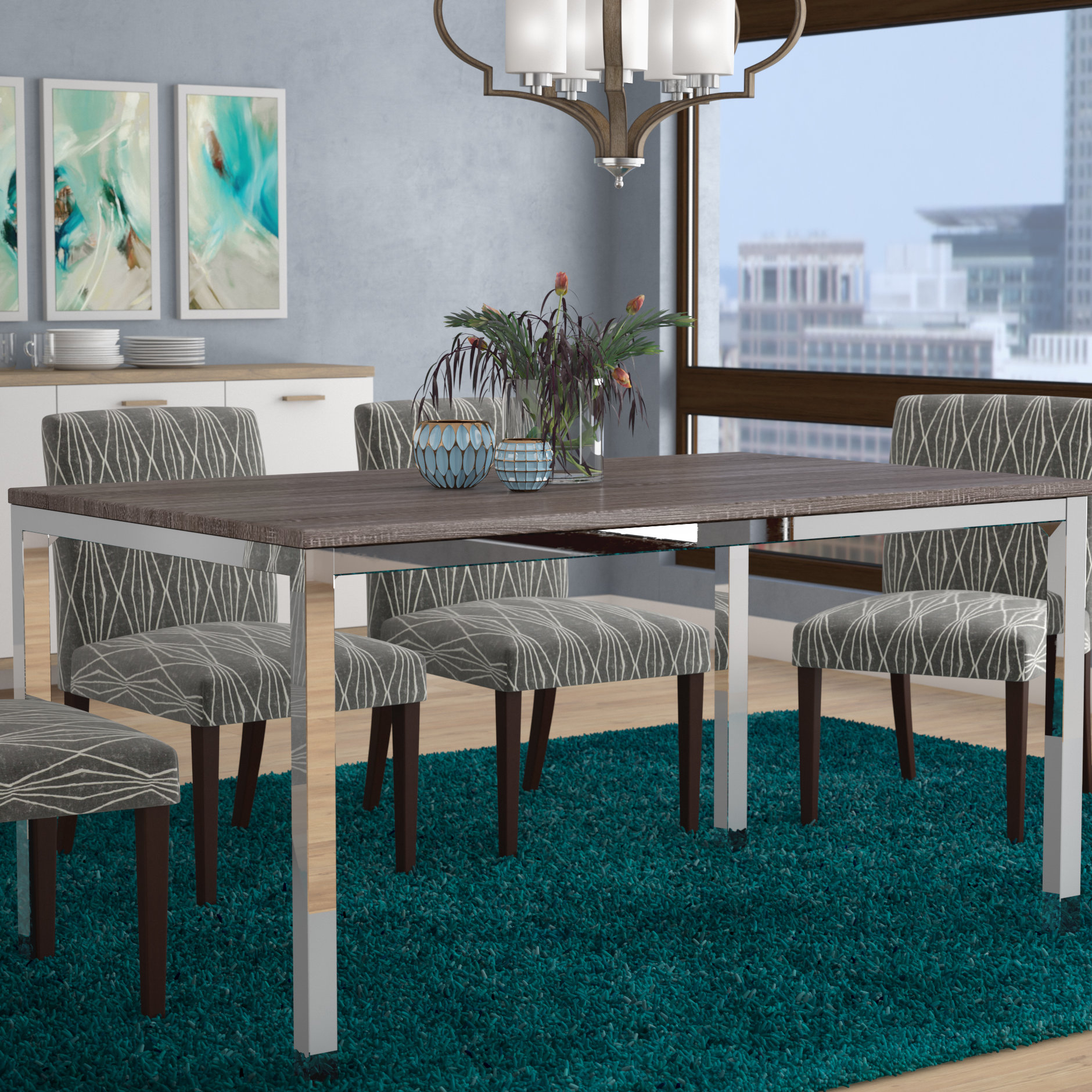 Favorite Amir 5 Piece Solid Wood Dining Sets (Set Of 5) Inside Wrought Studio Derouen Dining Table & Reviews (#8 of 20)