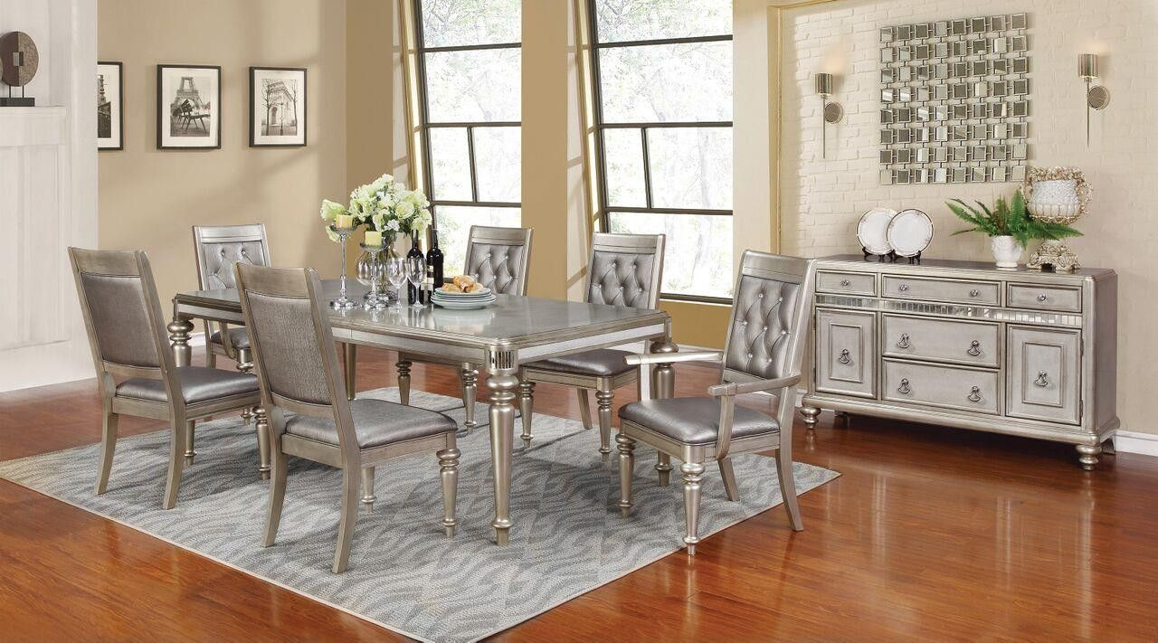 Favorite Lamotte 5 Piece Dining Sets Regarding Bling Game Collection Metallic Platinum Dining Room Table  (View 3 of 20)