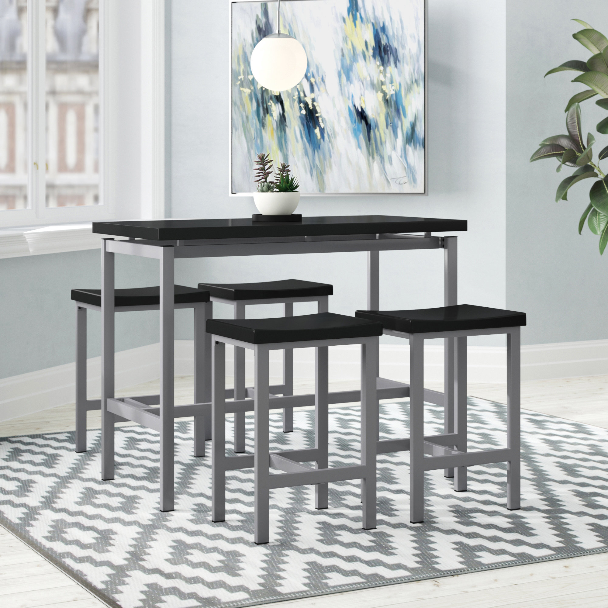 Favorite Lightle 5 Piece Breakfast Nook Dining Sets In Ebern Designs Mysliwiec 5 Piece Counter Height Breakfast Nook Dining (View 7 of 20)