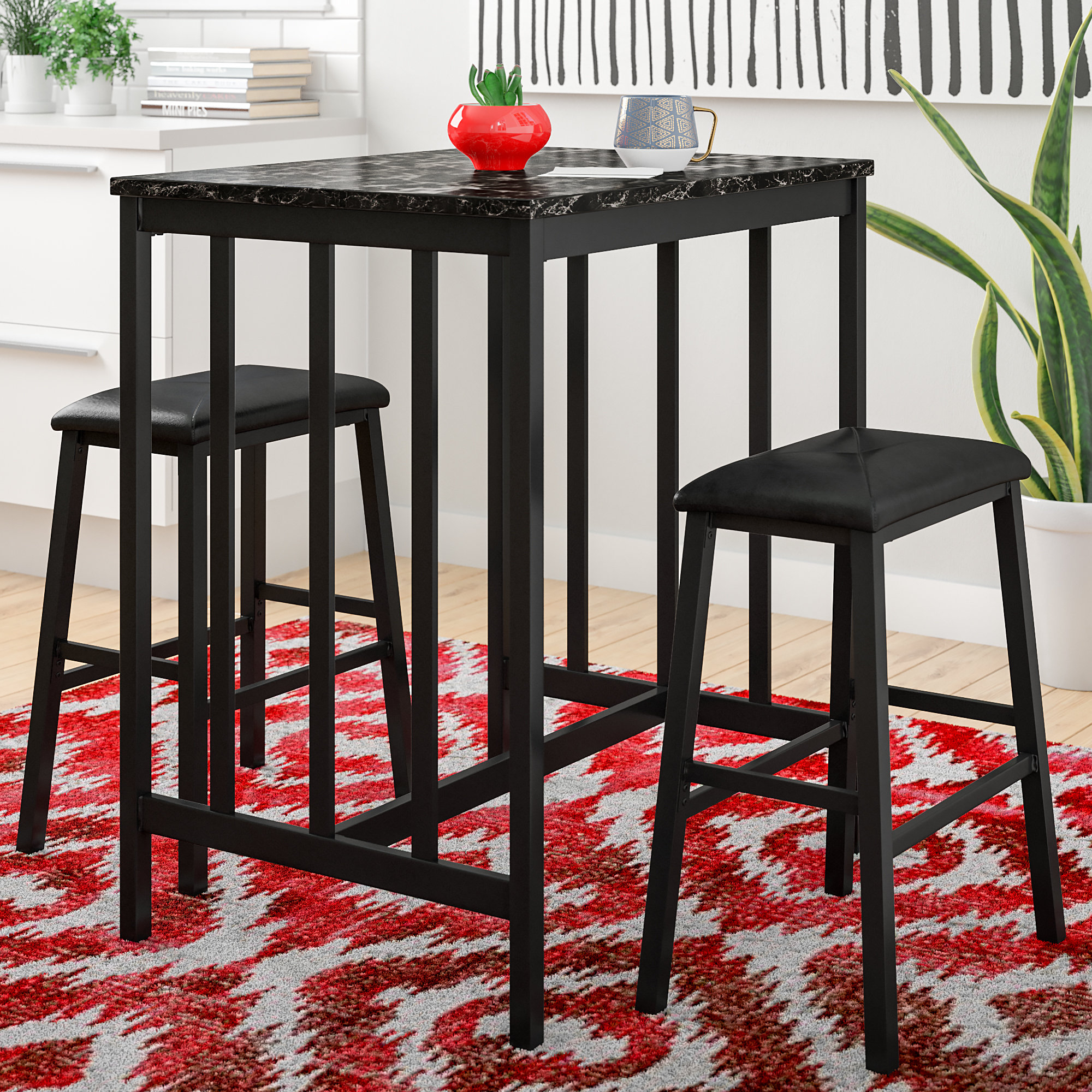 Favorite Miskell 3 Piece Dining Sets Regarding Andover Mills Della 3 Piece Pub Table Set & Reviews (#6 of 20)