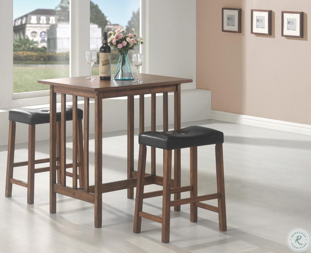 Favorite Penelope 3 Piece Counter Height Wood Dining Sets Pertaining To Black 3 Pcs Counter Height Dining & Dinette Set 130004 From Coaster (#4 of 20)