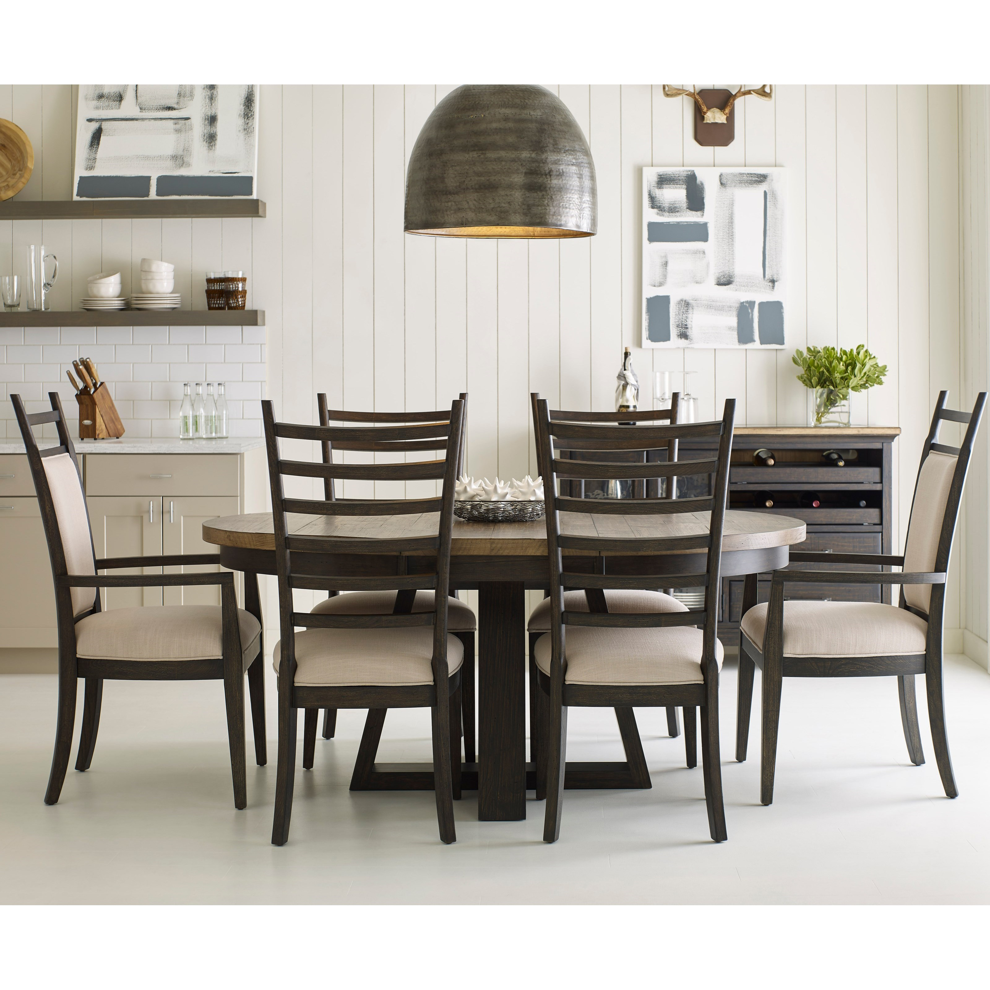 Favorite Smyrna 3 Piece Dining Sets Within Kincaid Furniture Plank Road Seven Piece Dining Set With Button (View 19 of 20)