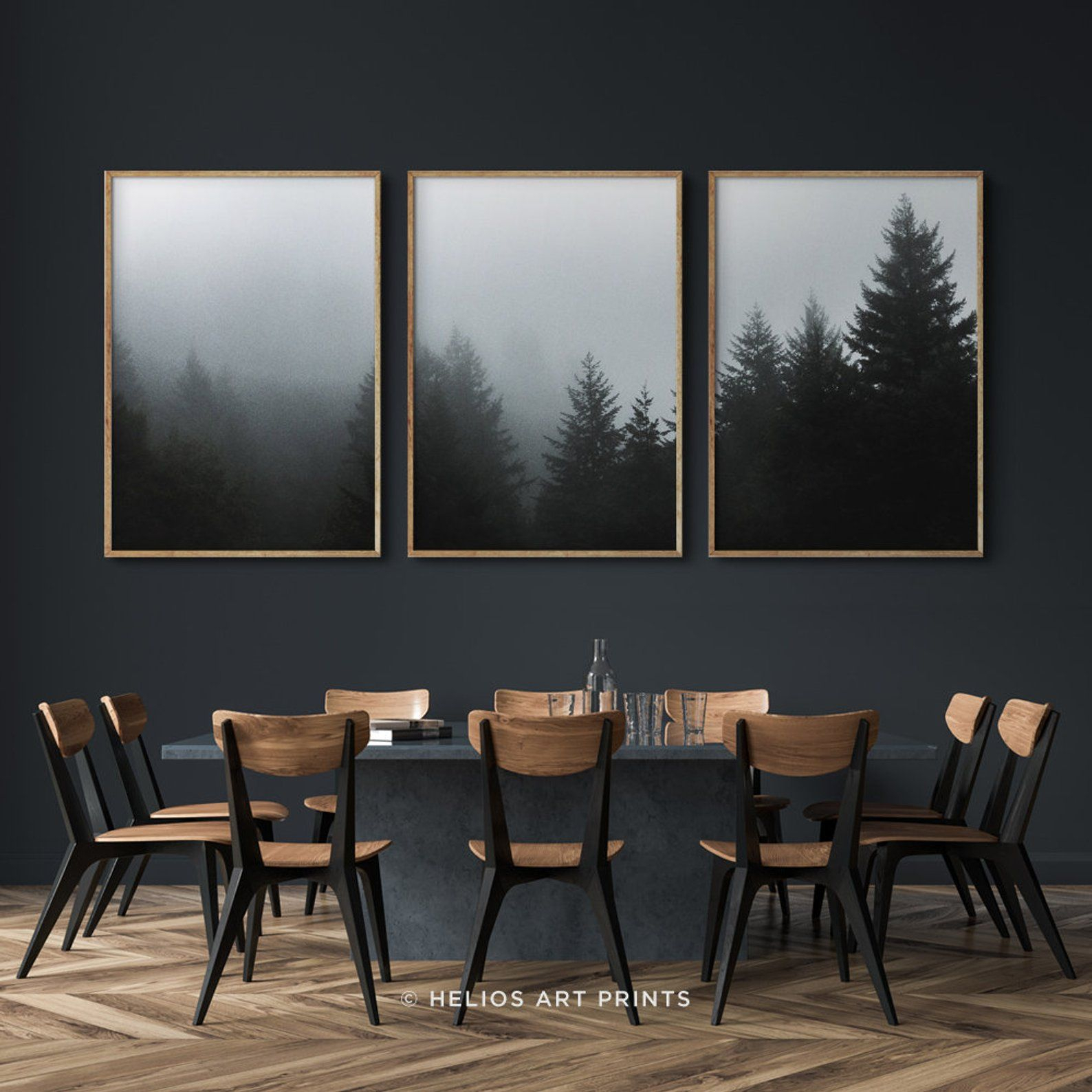Favorite Wallflower 3 Piece Dining Sets Within Set Of Three Deep Green Misty Forest Art Prints, Set Of 3 Misty (View 5 of 20)