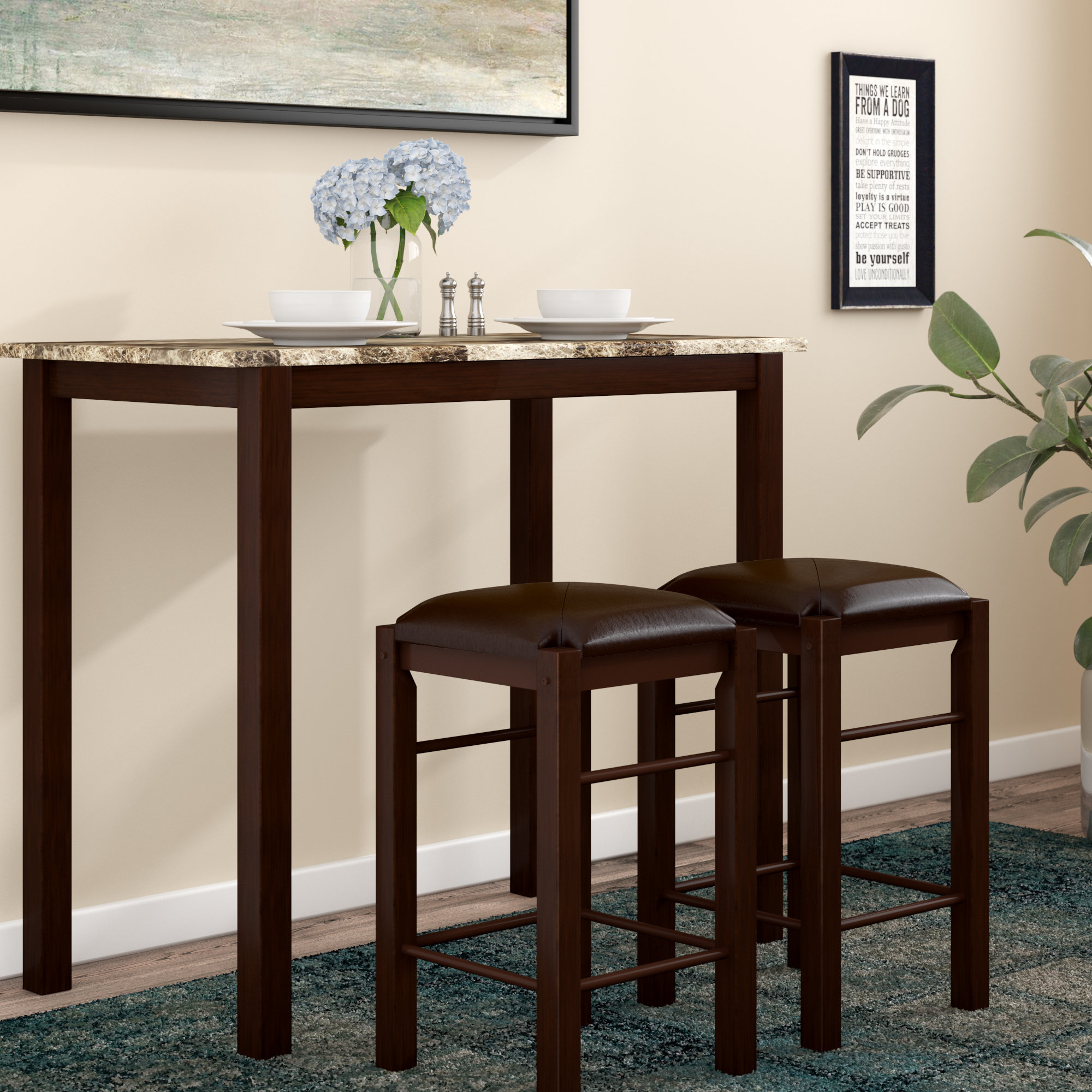 Favorite Winston Porter Penelope 3 Piece Counter Height Wood Dining Set For Tenney 3 Piece Counter Height Dining Sets (#9 of 20)