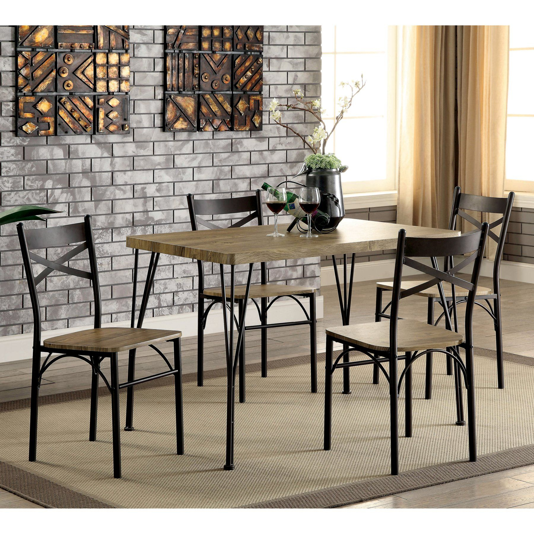 Furniture Of America Amonica 5 Piece Casual Dining Set En 2019 Pertaining To Current Winsted 4 Piece Counter Height Dining Sets (View 20 of 20)