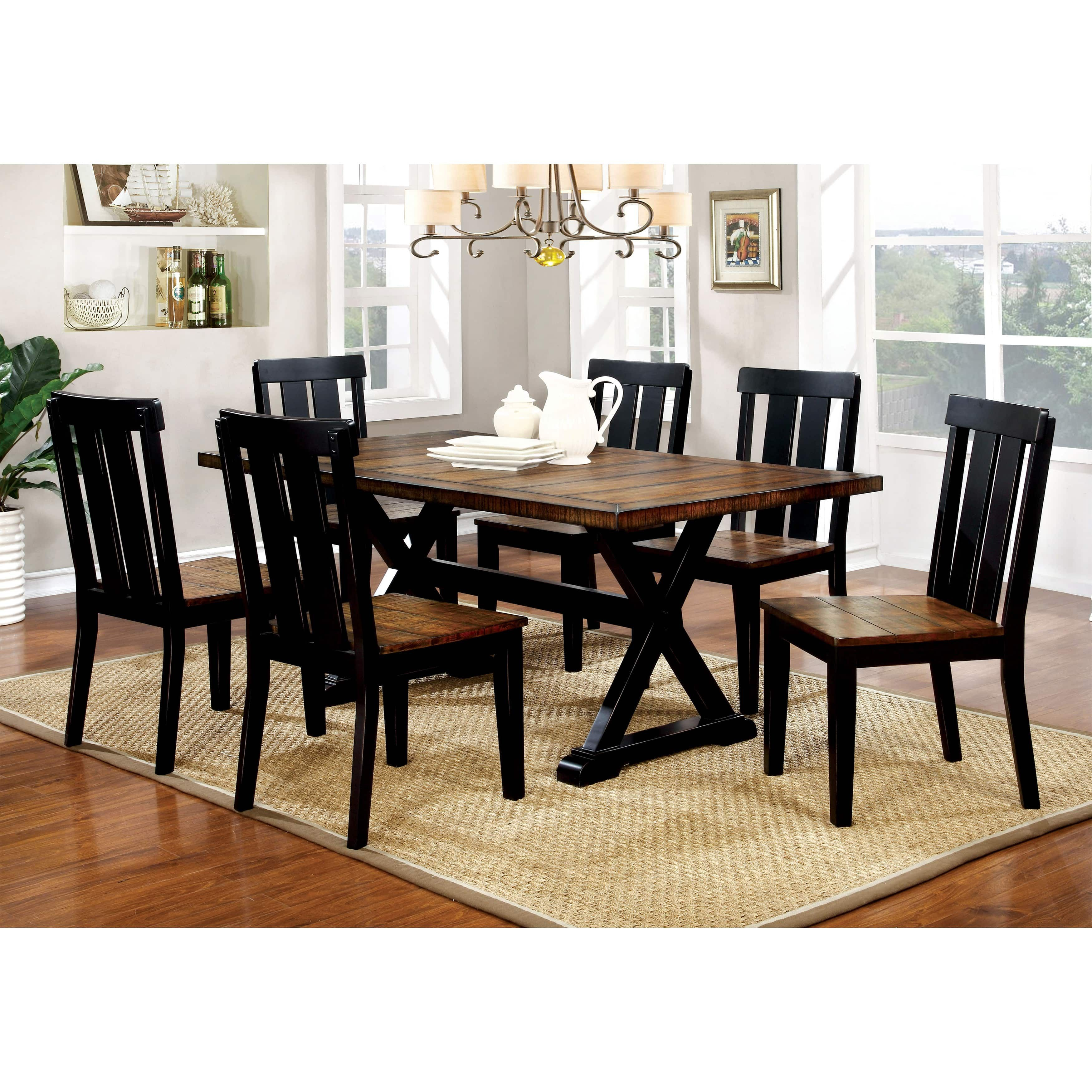 Furniture Of America Lara Farmhouse Style 7 Piece Two Tone Antique Pertaining To Recent Goodman 5 Piece Solid Wood Dining Sets (Set Of 5) (View 6 of 20)