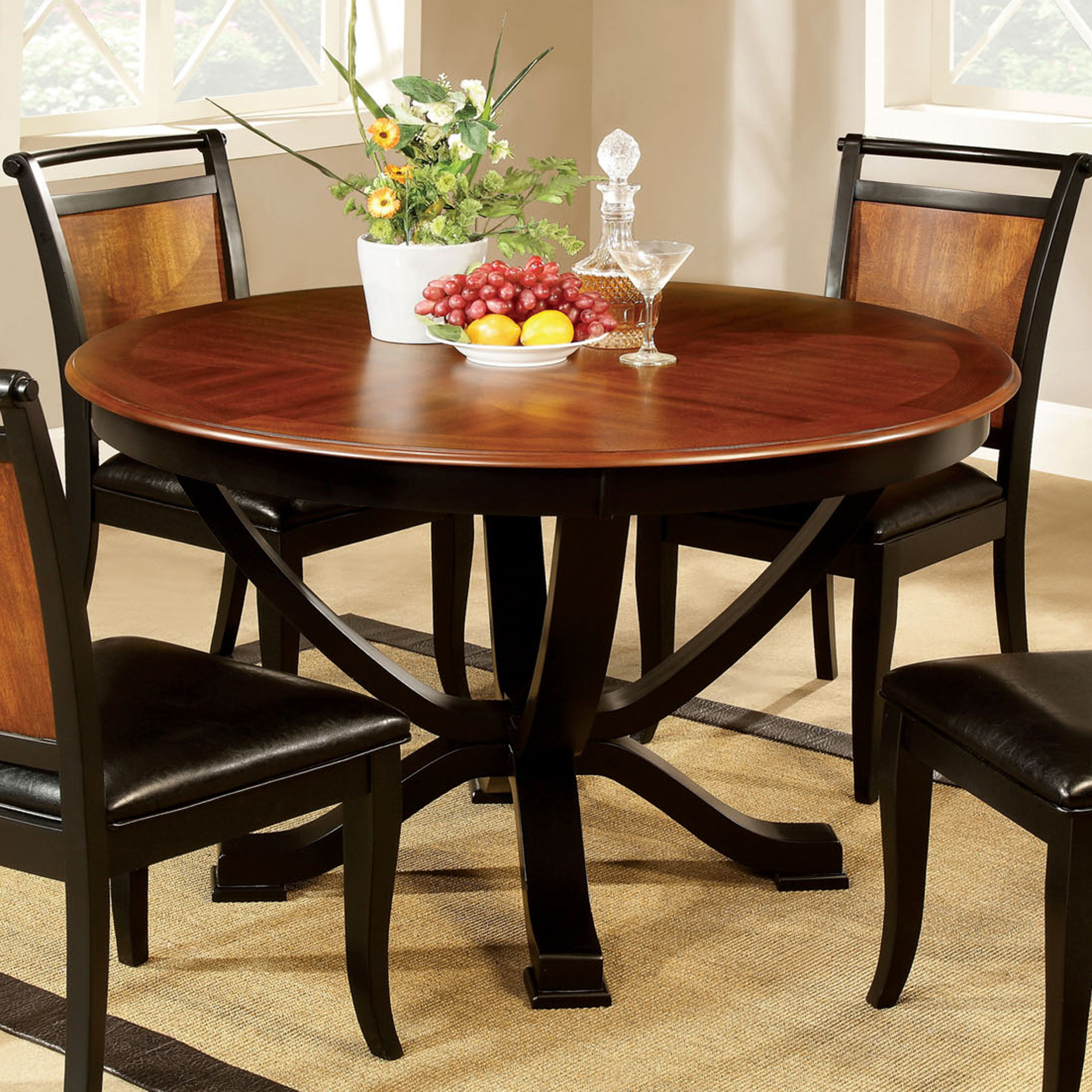 Furniture Of America Lyda Transitional Black Acacia Round Pedestal Dining Table – Oak Inside Newest Biggs 5 Piece Counter Height Solid Wood Dining Sets (set Of 5) (View 9 of 20)
