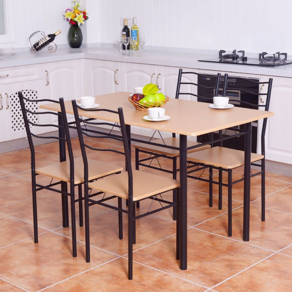 Goplus 5 Pieces Dining Table Set 1 Wooden Dining Table With 4 Dinig With Most Recent Conover 5 Piece Dining Sets (#6 of 20)