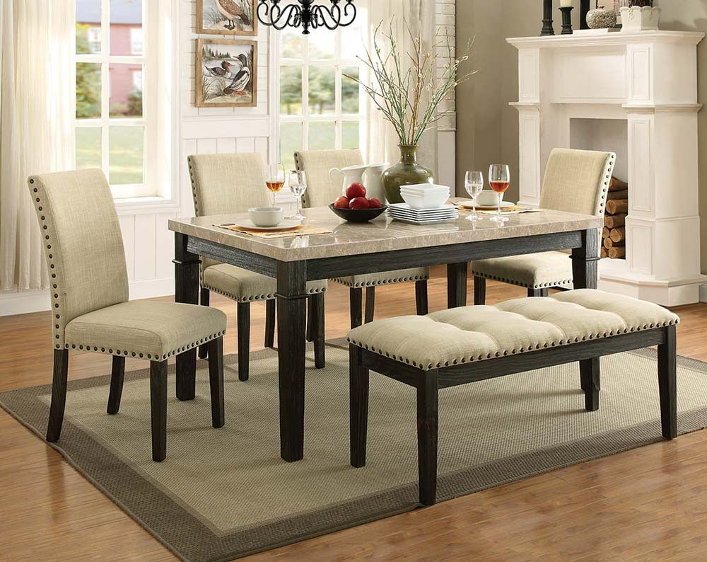 Greystone Marble 5 Piece Dining Set Intended For Denzel 5 Piece Counter Height Breakfast Nook Dining Sets (#7 of 20)