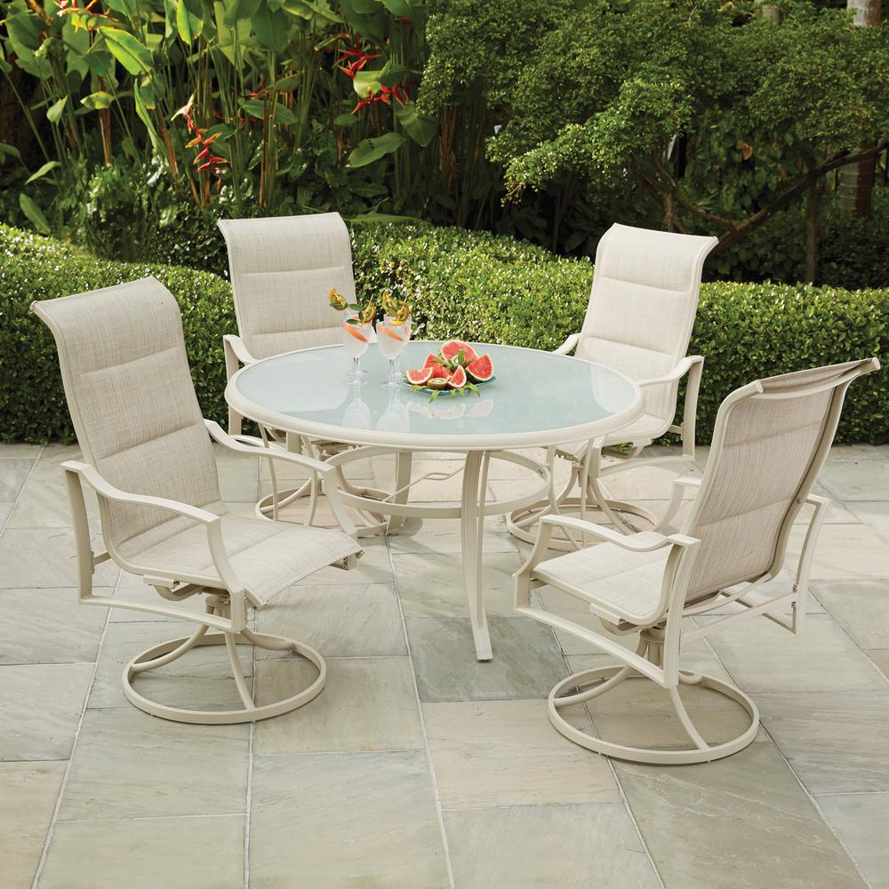 Hampton Bay Statesville Shell 5 Piece Aluminum Outdoor Dining Set Pertaining To Most Recent North Reading 5 Piece Dining Table Sets (#6 of 20)