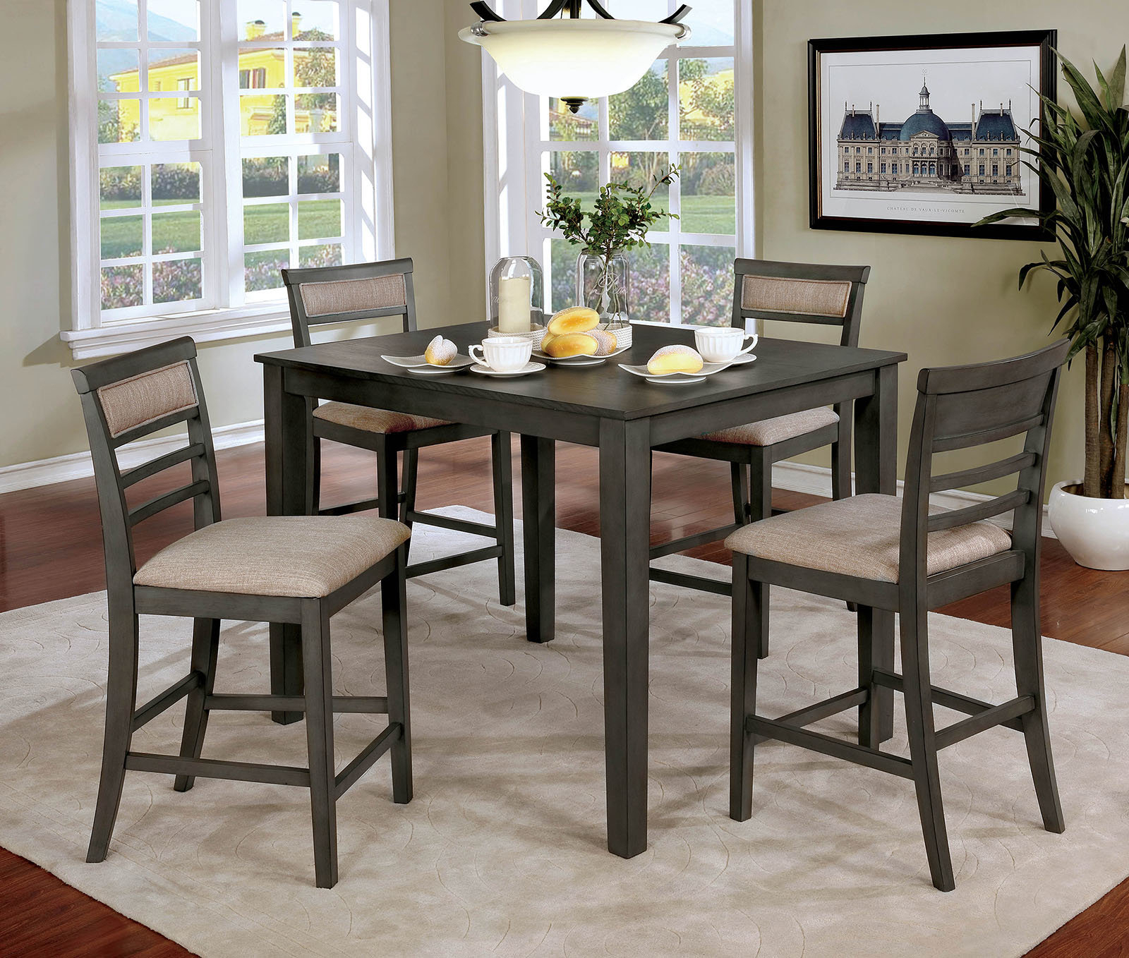 Popular Photo of Hanska Wooden 5 Piece Counter Height Dining Table Sets (Set Of 5)