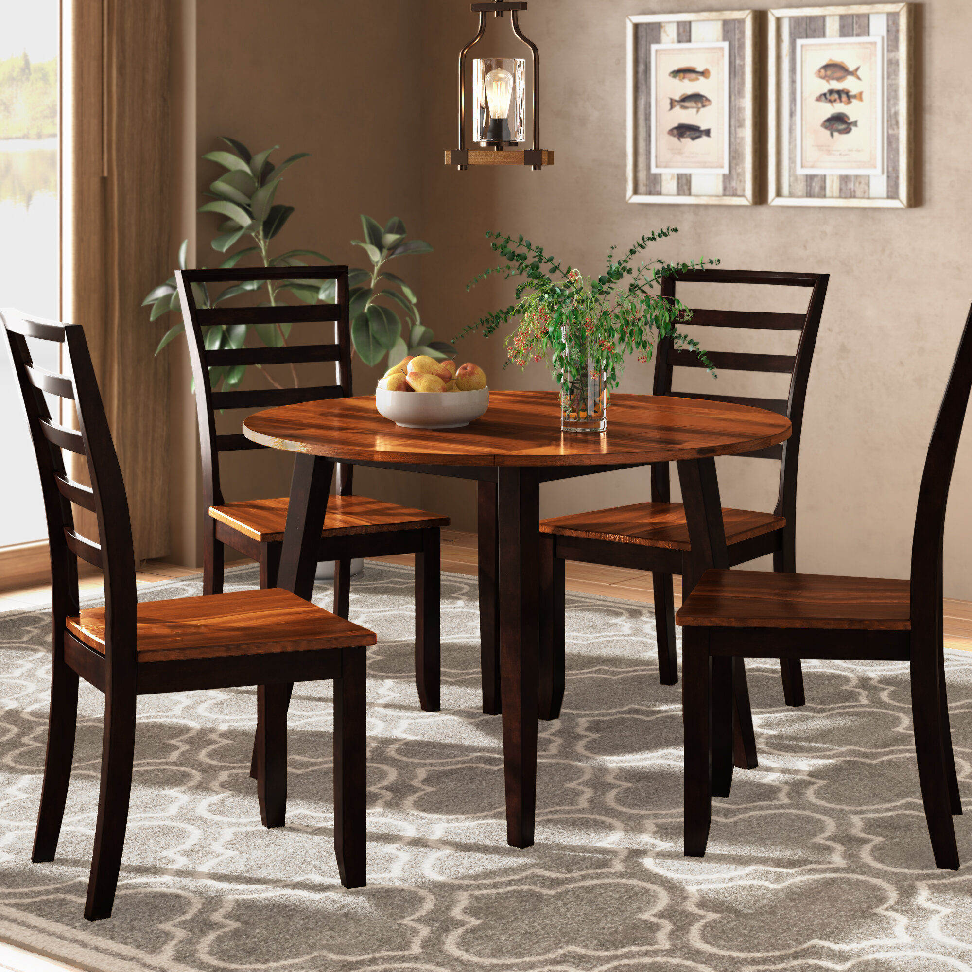Hanska Wooden 5 Piece Counter Height Dining Table Sets (Set Of 5) Intended For Trendy Millwood Pines Hidalgo 5 Piece Drop Leaf Solid Wood Breakfast Nook (#6 of 20)