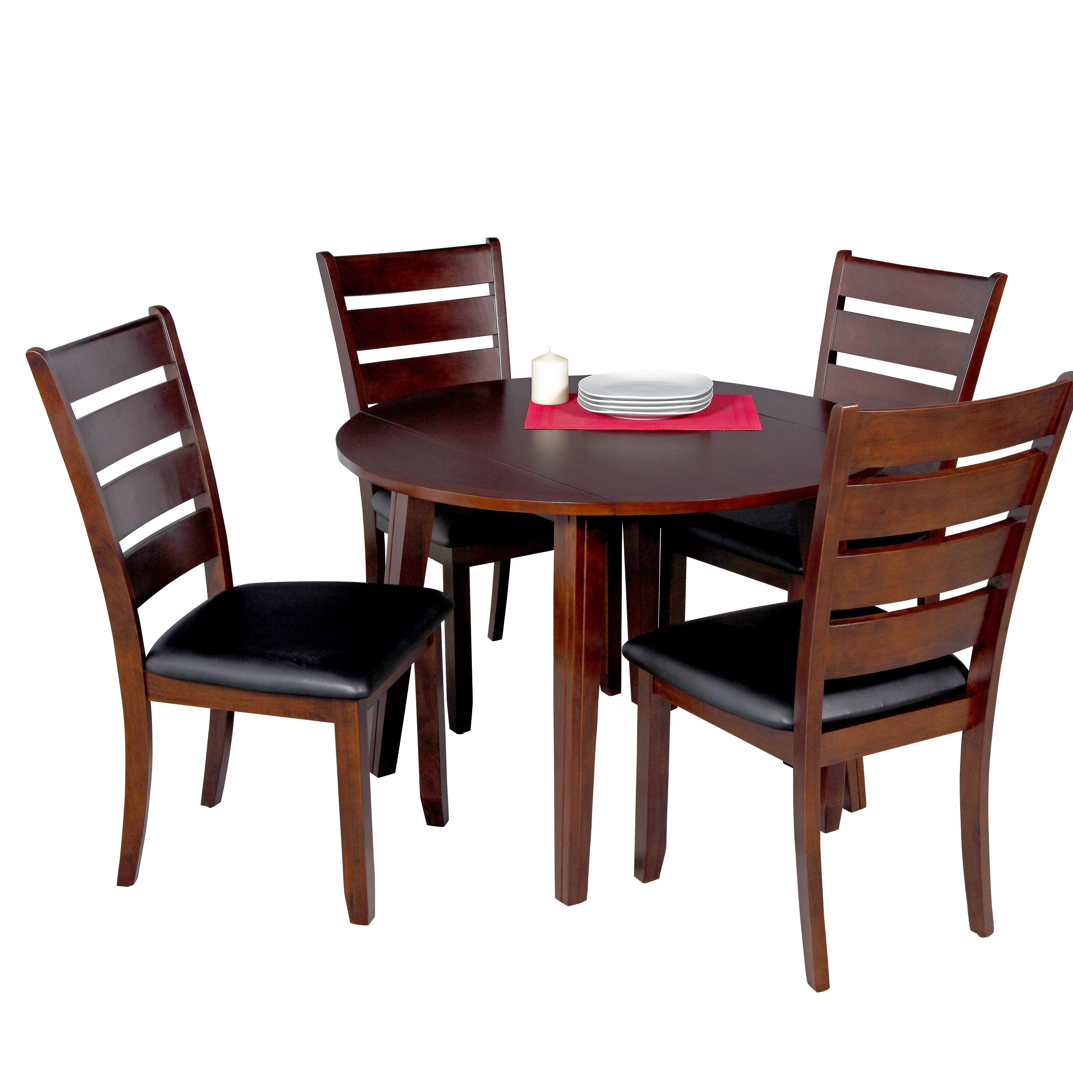 Hanska Wooden 5 Piece Counter Height Dining Table Sets (Set Of 5) Pertaining To Fashionable Latitude Run Dinh 5 Piece Drop Leaf Solid Wood Dining Set (#7 of 20)