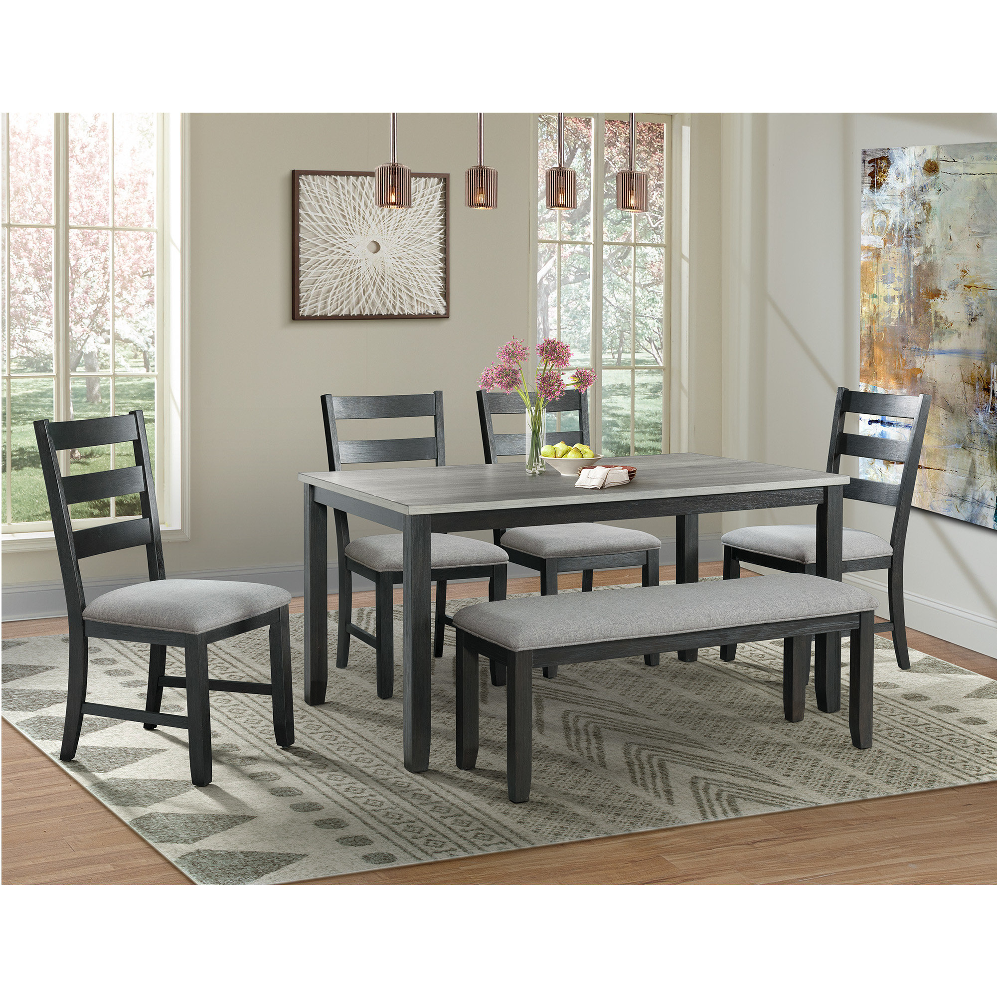 Hanska Wooden 5 Piece Counter Height Dining Table Sets (Set Of 5) Within Well Known Alcott Hill Mavis 6 Piece Solid Wood Dining Set & Reviews (#9 of 20)