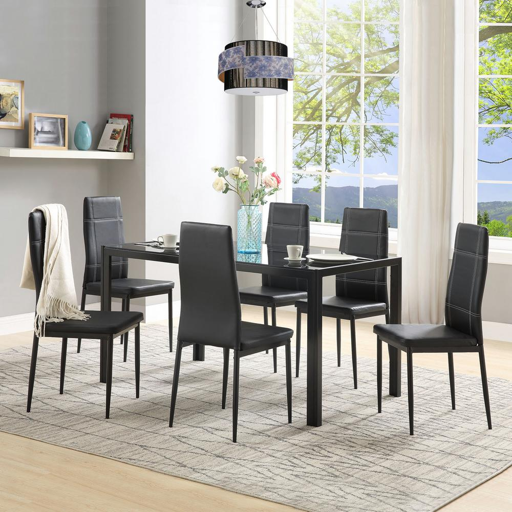 Harper & Bright Designs 7 Piece Black Dining Set Glass Top Metal Throughout Most Recently Released Maynard 5 Piece Dining Sets (#5 of 20)
