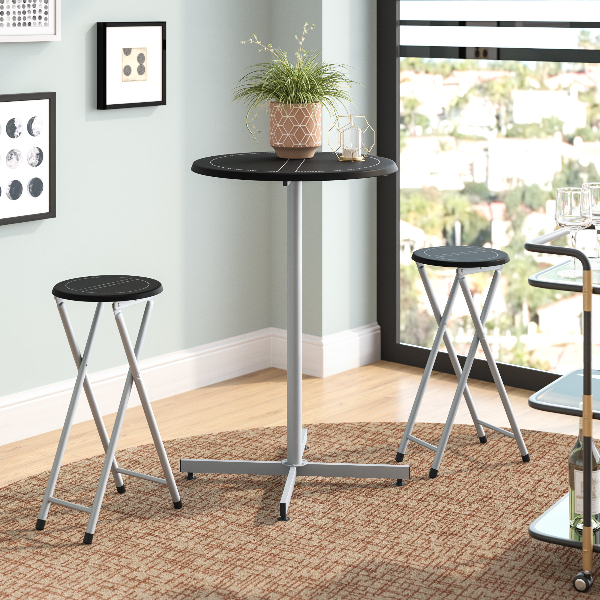 "Honoria 3 Piece Dining Sets Pertaining To Latest Symple Stuff Palma 3 Piece 38"" Pub Table & Stool Set & Reviews (#4 of 20)"