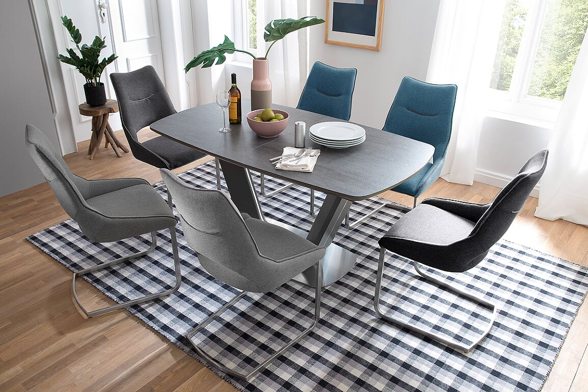 Jarrod Grey And Anthracite Ceramic Extending Dining Table 160Cm Regarding Most Popular Jarrod 5 Piece Dining Sets (#11 of 20)