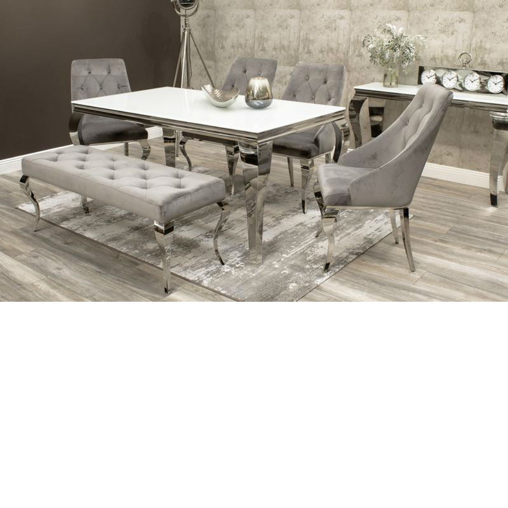 John 4 Piece Dining Sets Within Famous Louis 160Cm White Glass Dining Table Inc 4 Cassia Chairs And Louis (#7 of 20)