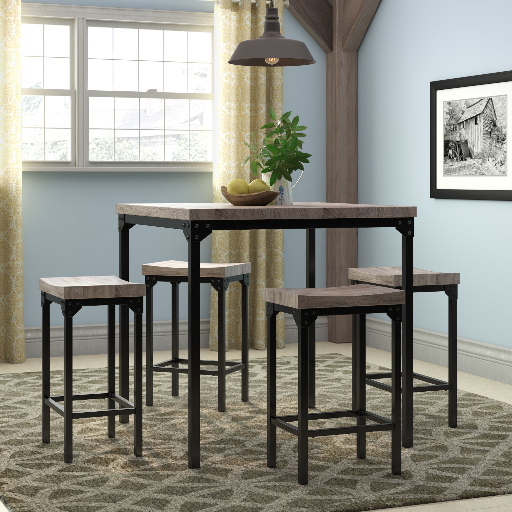 Kerley 4 Piece Dining Sets For Popular Gracie Oaks Wegner 5 Piece Counter Height Dining Set & Reviews (#6 of 20)