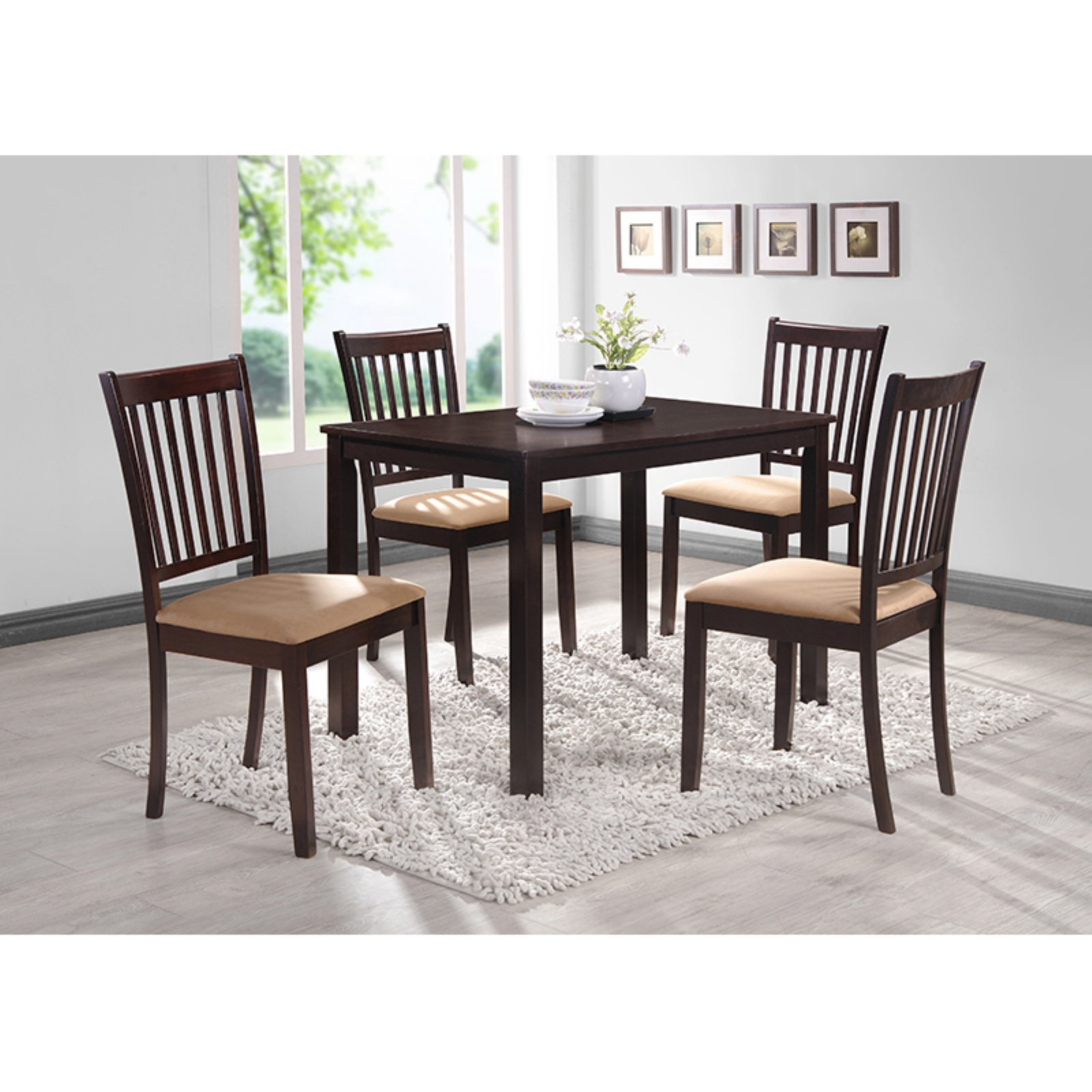 Kieffer 5 Piece Dining Sets Inside Popular Coaster Hyde Rectangular Casual Dining Leg Table In Cappuccino (#5 of 20)