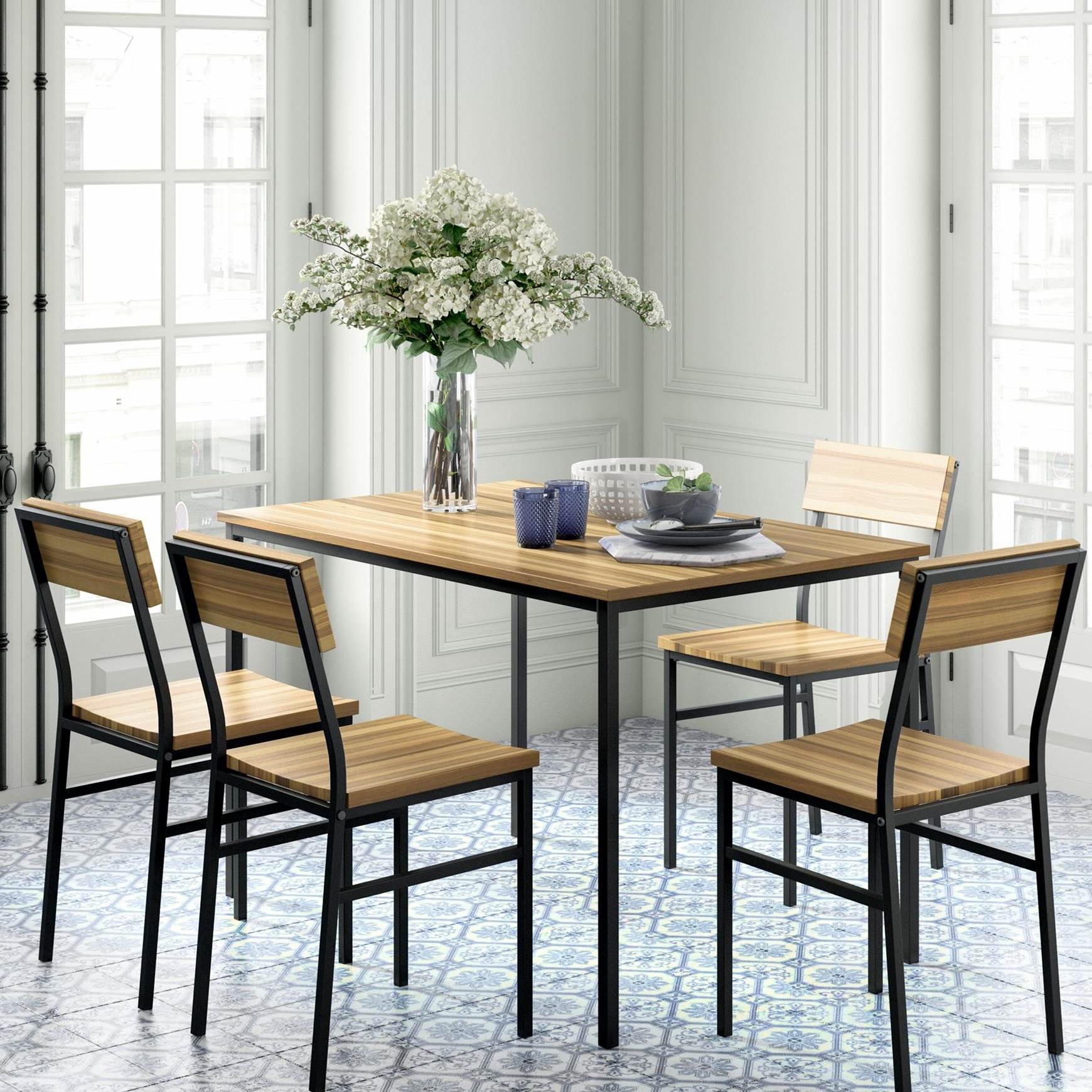 Kieffer 5 Piece Dining Sets Intended For Well Known Novogratz Linden 5 Piece Dining Set (#7 of 20)