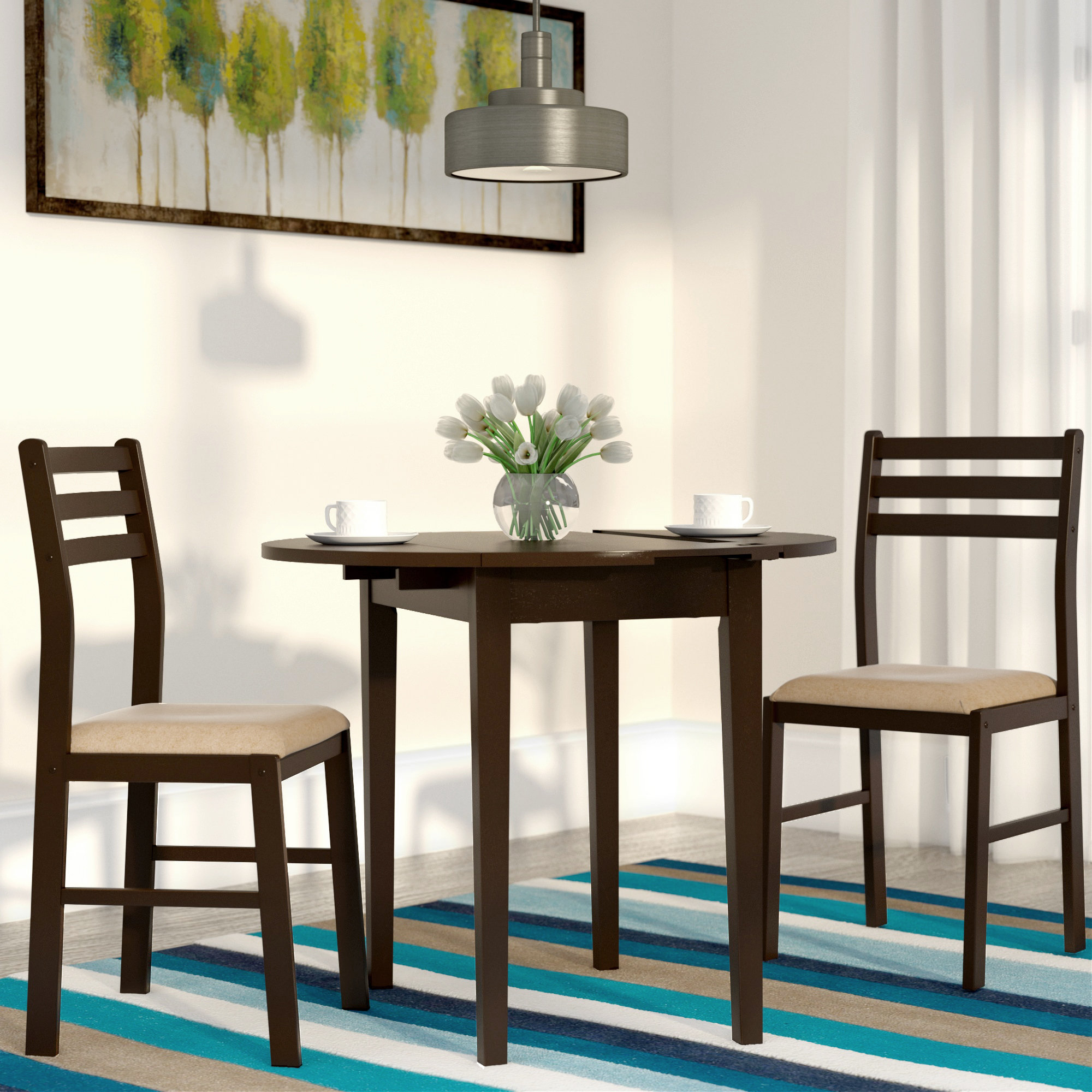 Kinsler 3 Piece Bistro Sets With Regard To Widely Used Andover Mills Lynbrook 3 Piece Dining Set & Reviews (#6 of 20)