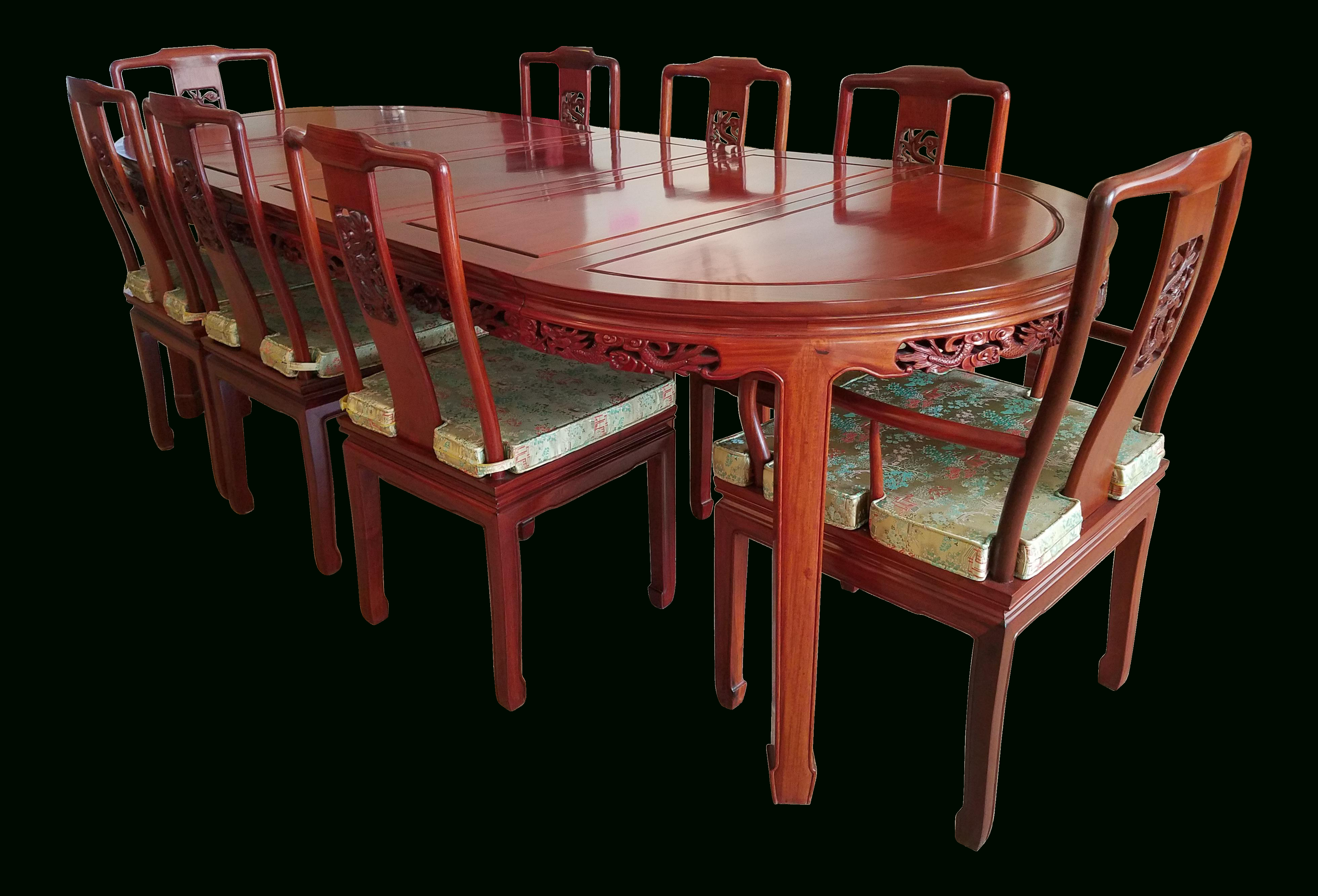 Laconia 7 Pieces Solid Wood Dining Sets (Set Of 7) In Newest Vintage Chinese Rosewood Hand Carved Imperial Dragon Dining Table (#3 of 20)