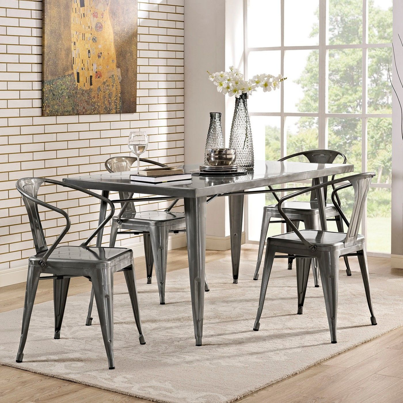 Inspiration about Latest Alacrity Rectangle Metal Dining Table Gunmetal – Modway, Silver Inside Middleport 5 Piece Dining Sets (#16 of 20)