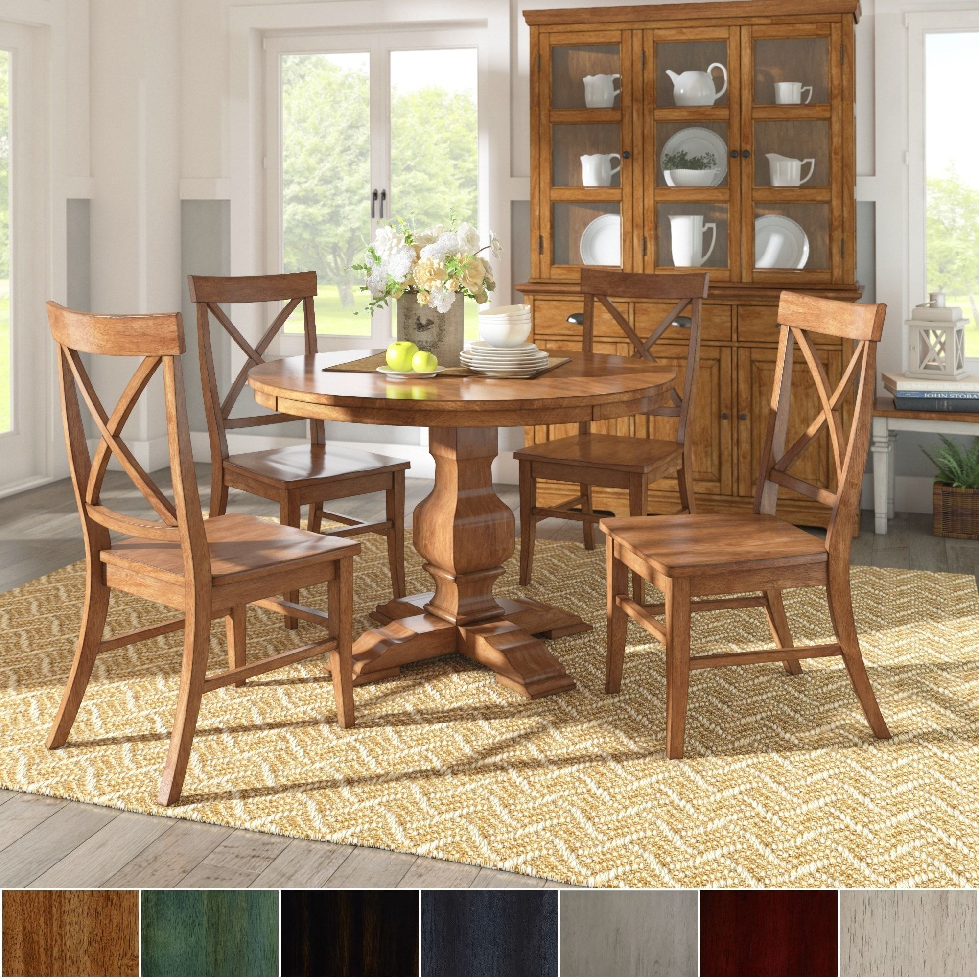 Latest Eleanor Oak Finish Wood 5 Piece Round Table X Back Chairs Dining Set Within Ephraim 5 Piece Dining Sets (View 11 of 20)