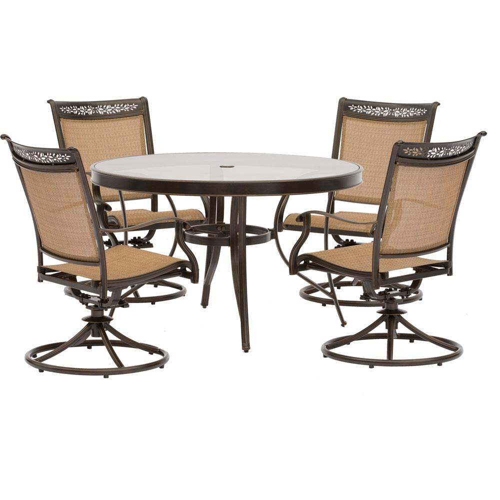 Latest Glass – Round – Patio Dining Sets – Patio Dining Furniture – The Intended For Aria 5 Piece Dining Sets (View 15 of 20)