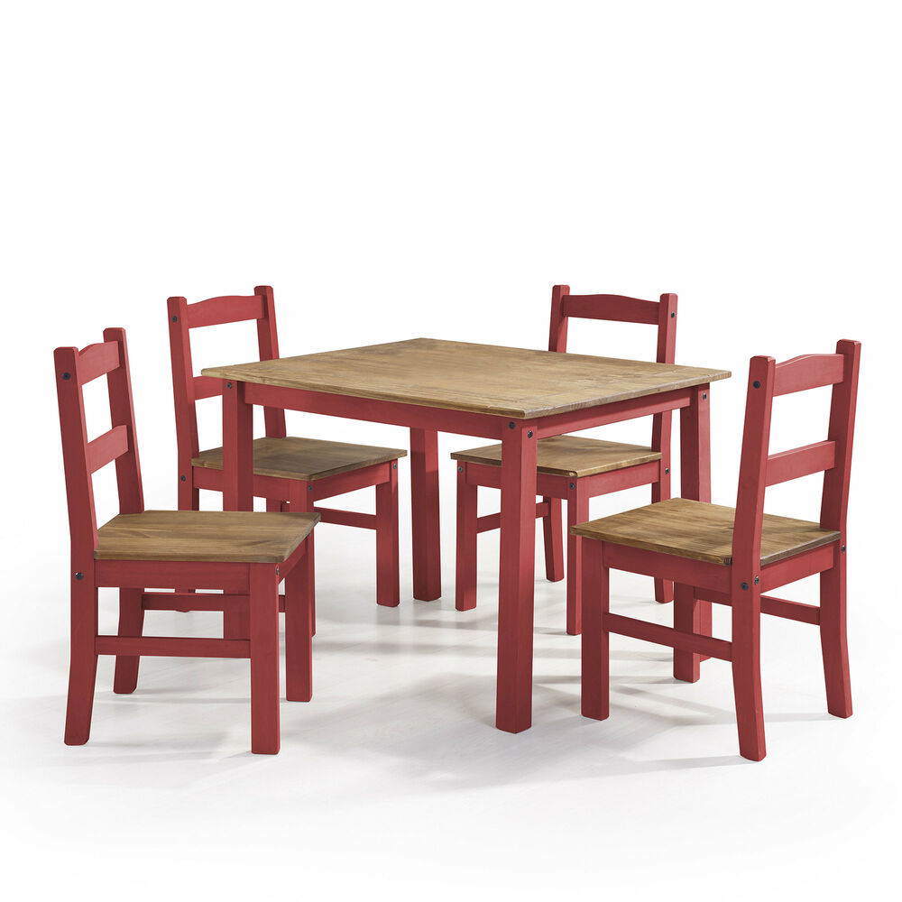 Latest Gracie Oaks Rodgers 5 Piece Solid Wood Dining Set (#11 of 20)