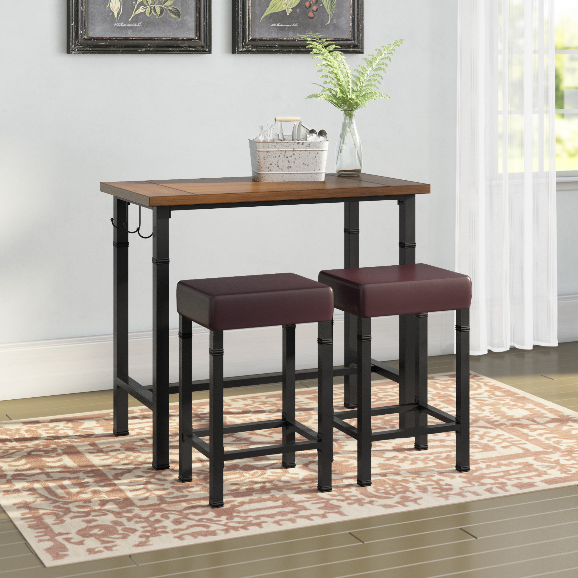Latest Laurel Foundry Modern Farmhouse Sevigny 3 Piece Pub Table Set In Hood Canal 3 Piece Dining Sets (#8 of 20)