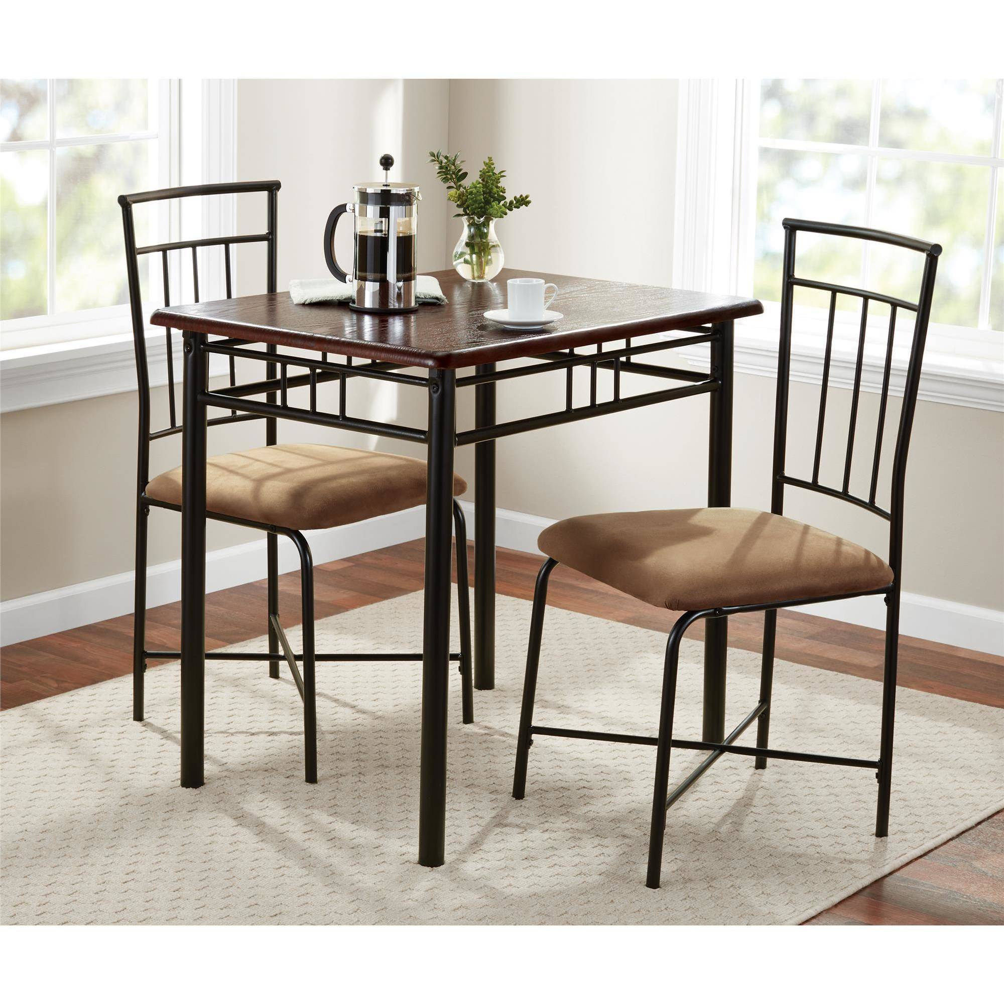 Latest Mainstays 3 Piece Dining Set, Wood And Metal – Walmart Within Bearden 3 Piece Dining Sets (#9 of 20)