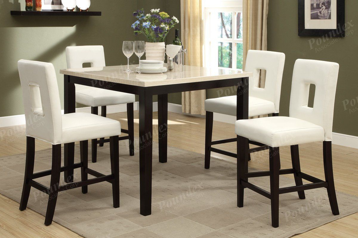 Inspiration about Latest Marble Top Finish Counter Height Table Poundex In 2019 (#14 of 20)