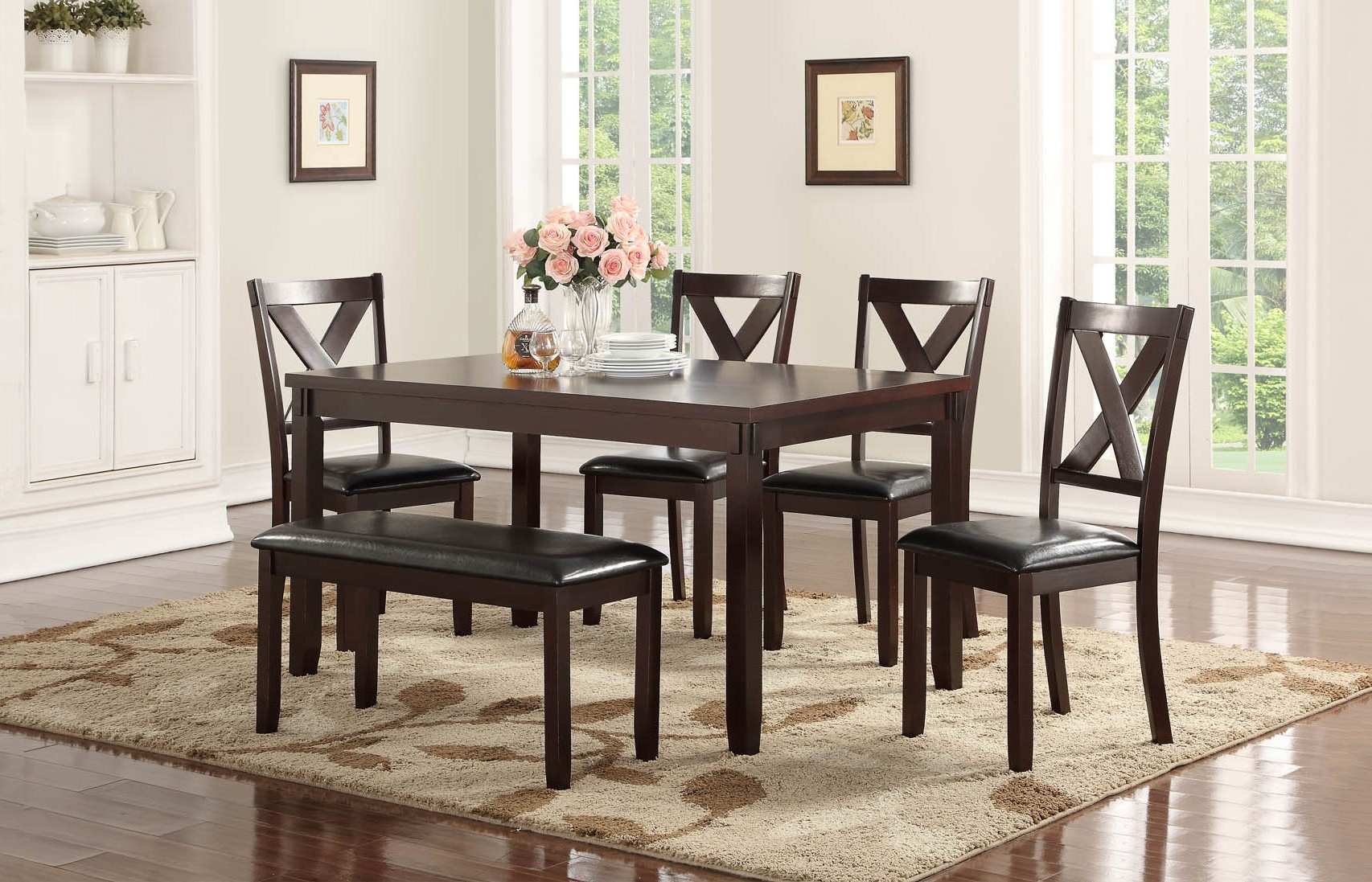 Latest Penelope Collection 6 Pc Dining Set With Bench (#6 of 20)
