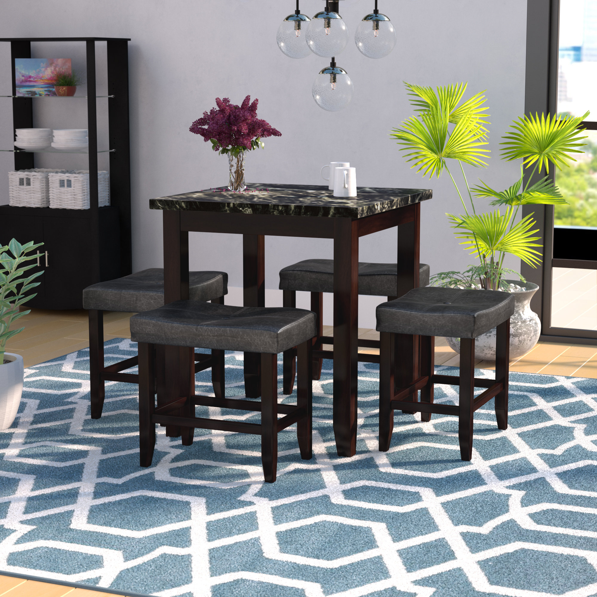 Latitude Run Dehaven 5 Piece Counter Height Dining Set & Reviews Within Most Current Nutter 3 Piece Dining Sets (#7 of 20)