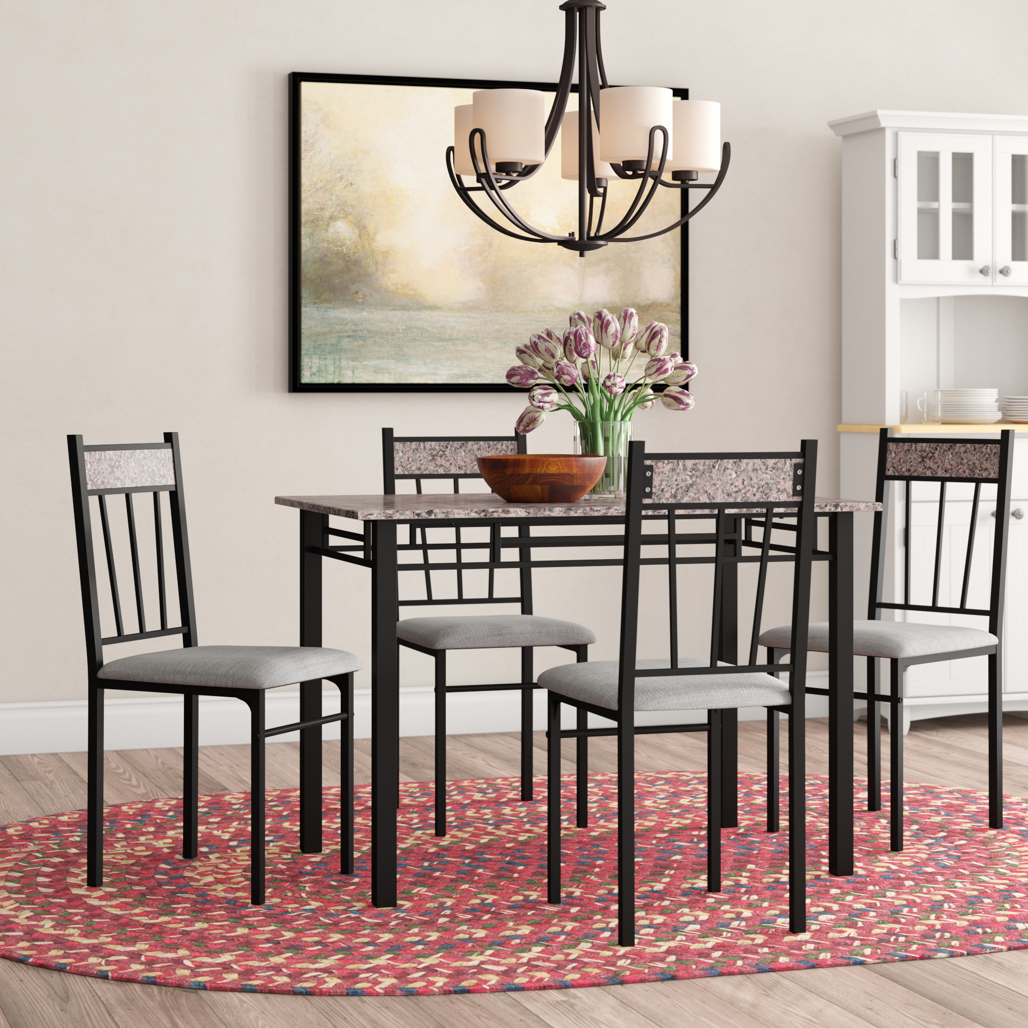 Lightle 5 Piece Breakfast Nook Dining Sets With Regard To Best And Newest Winston Porter Caspar 5 Piece Dining Set & Reviews (View 6 of 20)