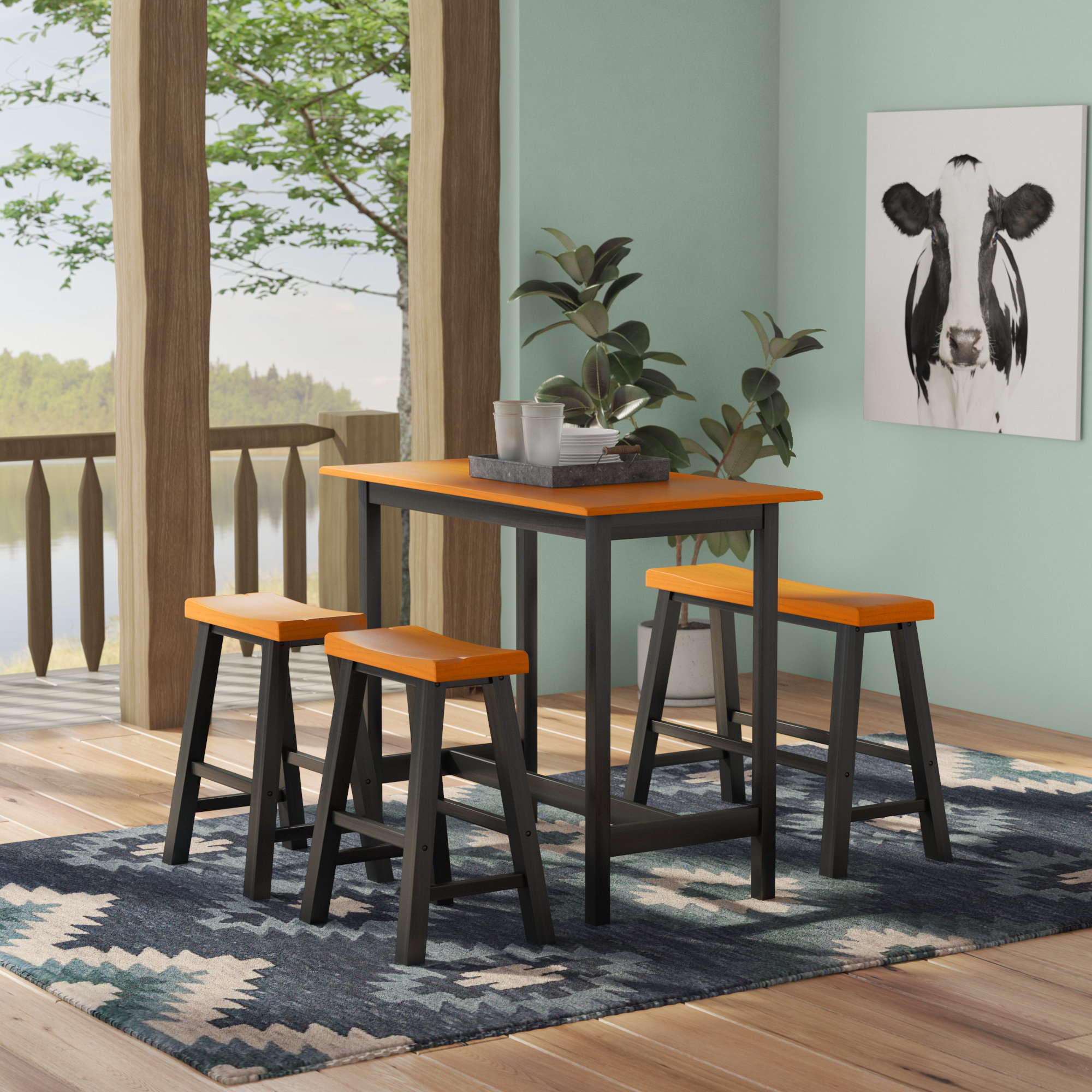 Inspiration about Loon Peak Kerley 4 Piece Dining Set (#10 of 20)