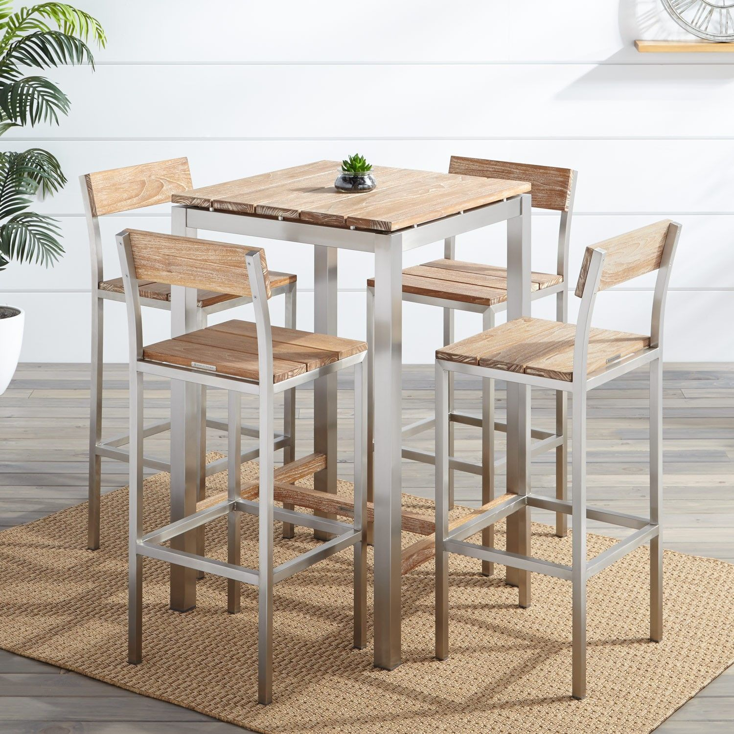 Macon 5 Piece Square Teak Outdoor Bar Table Set – Whitewash (#8 of 20)