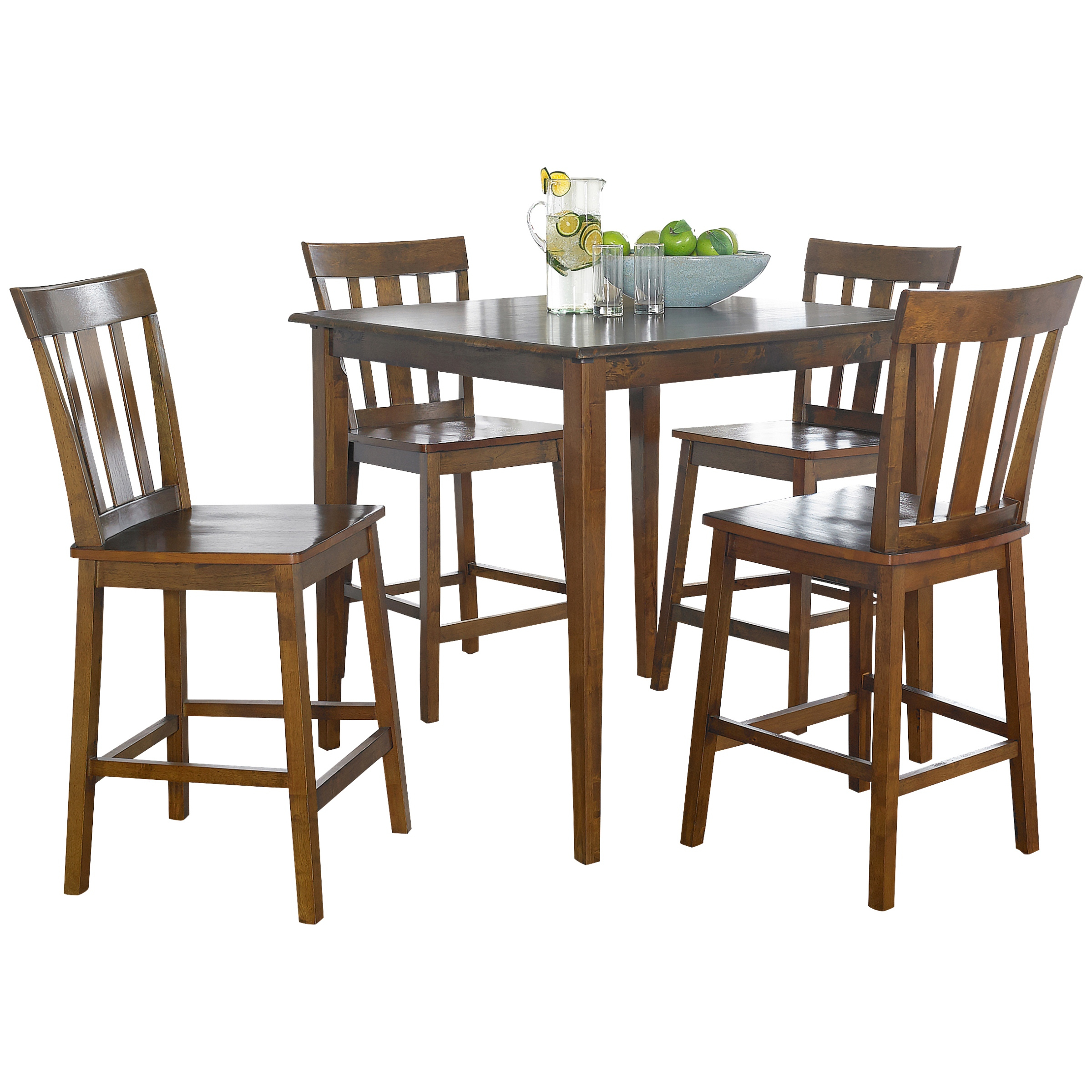 Mainstays 5 Piece Mission Counter Height Dining Set – Walmart Inside Popular Goodman 5 Piece Solid Wood Dining Sets (Set Of 5) (#11 of 20)