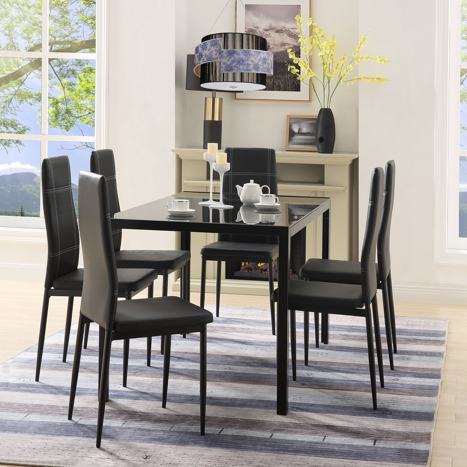 Maynard 5 Piece Dining Sets Inside Most Current Shop Merax 7 Piece Dining Set Glass Top Metal Table 6 Person Table (#7 of 20)
